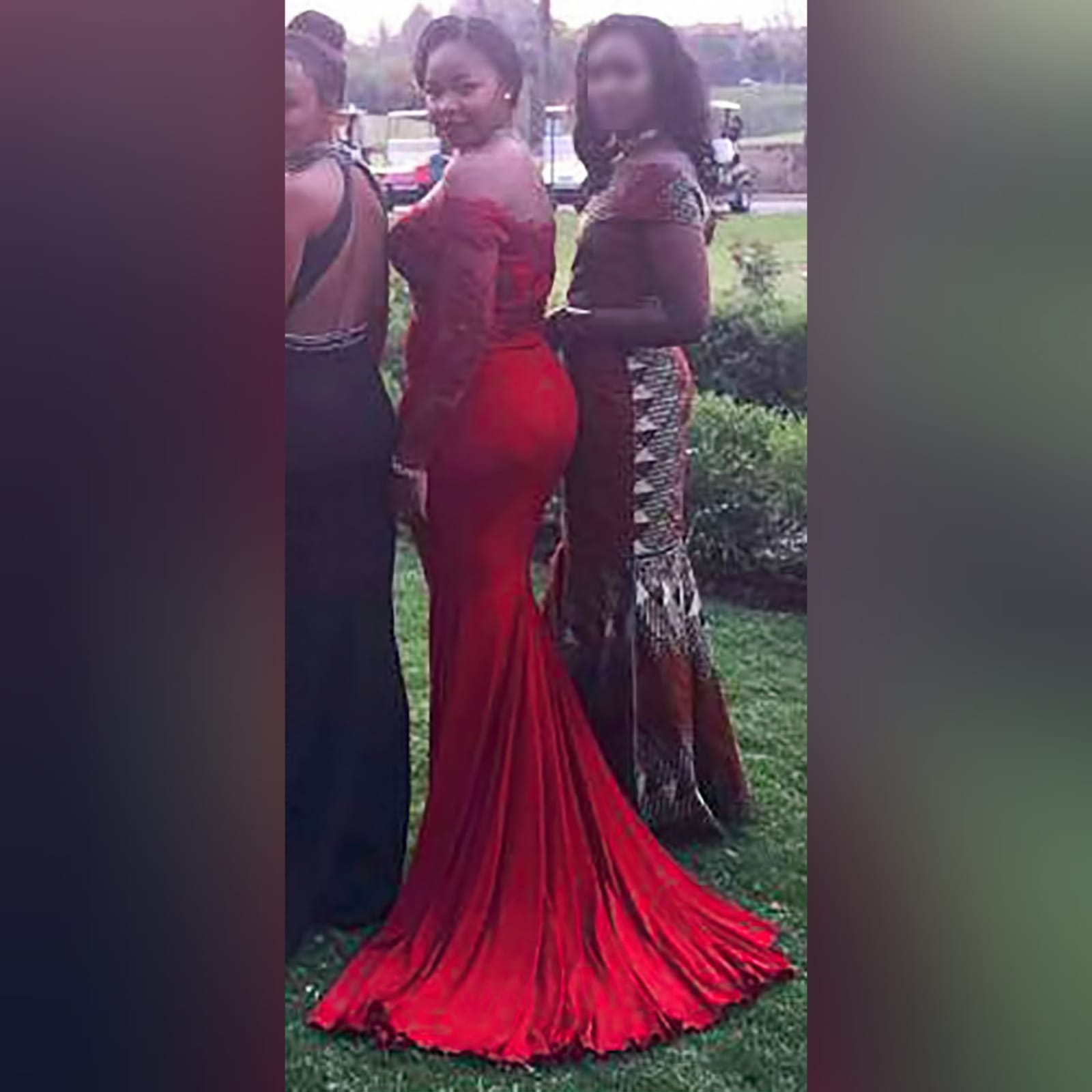 Off shoulder deep red soft mermaid prom dress 1 off shoulder deep red soft mermaid prom dress with an illusion long lace sleeves. Bodice detailed with lace and beads. With a train