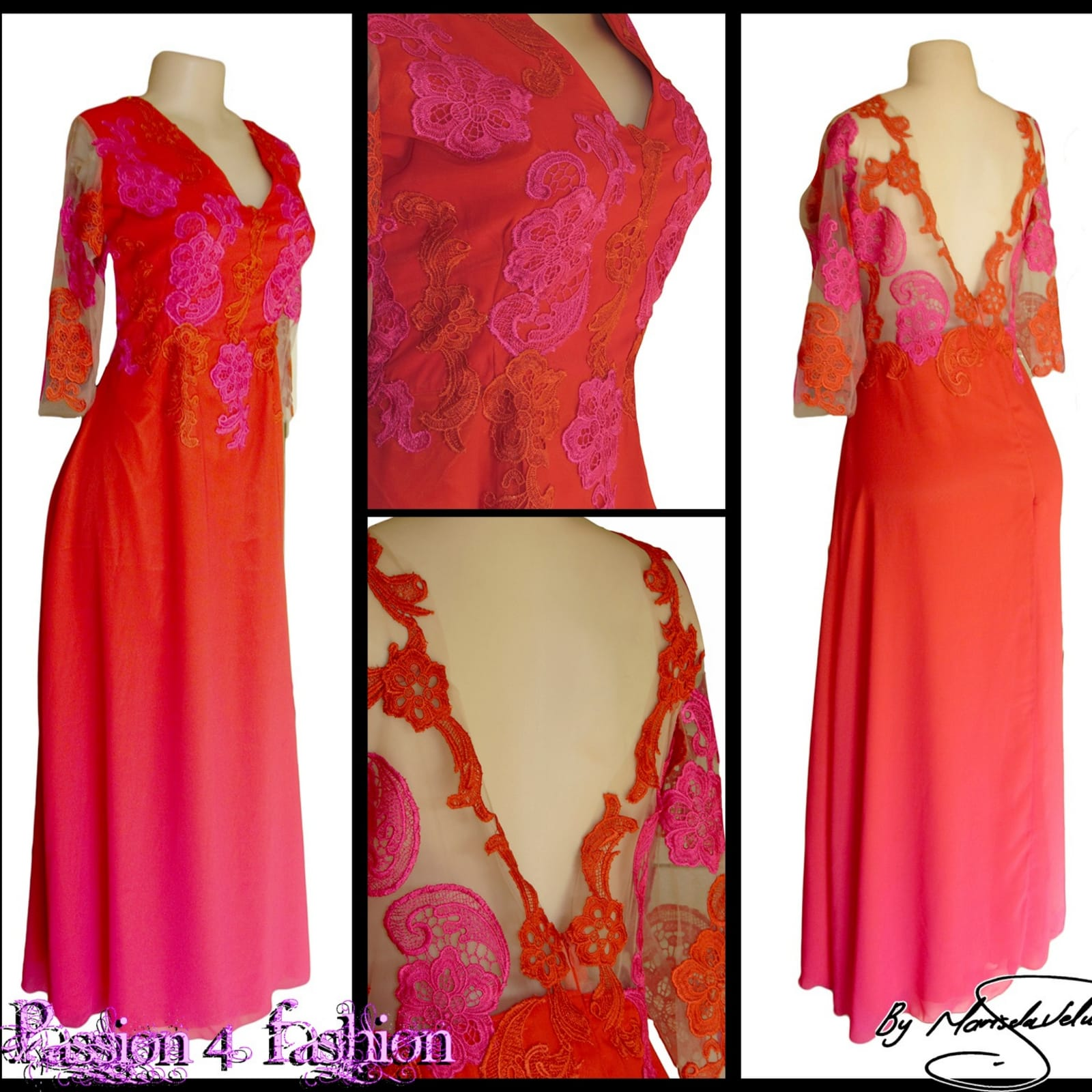 Orange & pink chiffon lace evening dress 6 orange & pink ombre long chiffon lace evening dress with a v illusion open back, 3/4 illusion lace sleeves.
