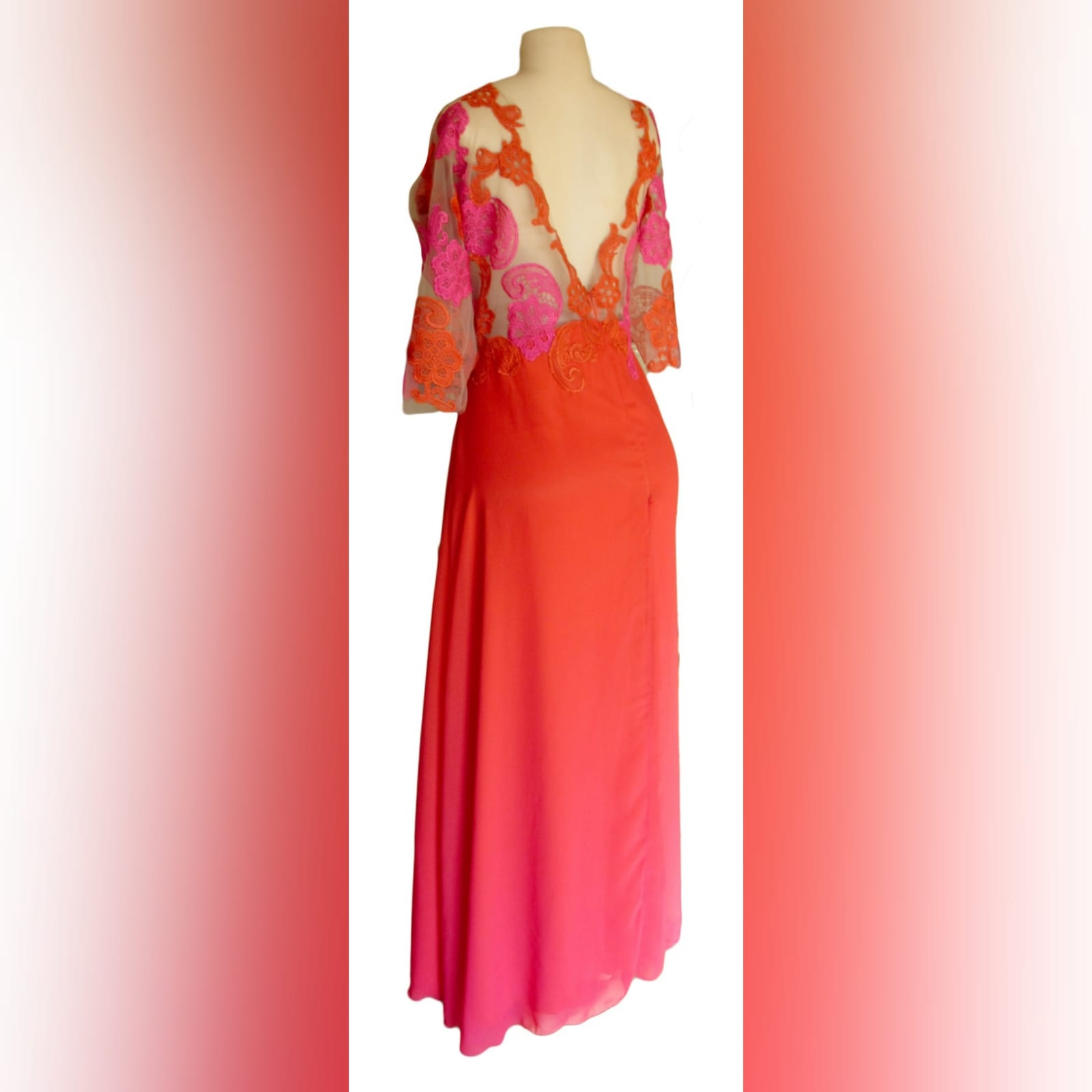 Orange & pink chiffon lace evening dress 5 orange & pink ombre long chiffon lace evening dress with a v illusion open back, 3/4 illusion lace sleeves.
