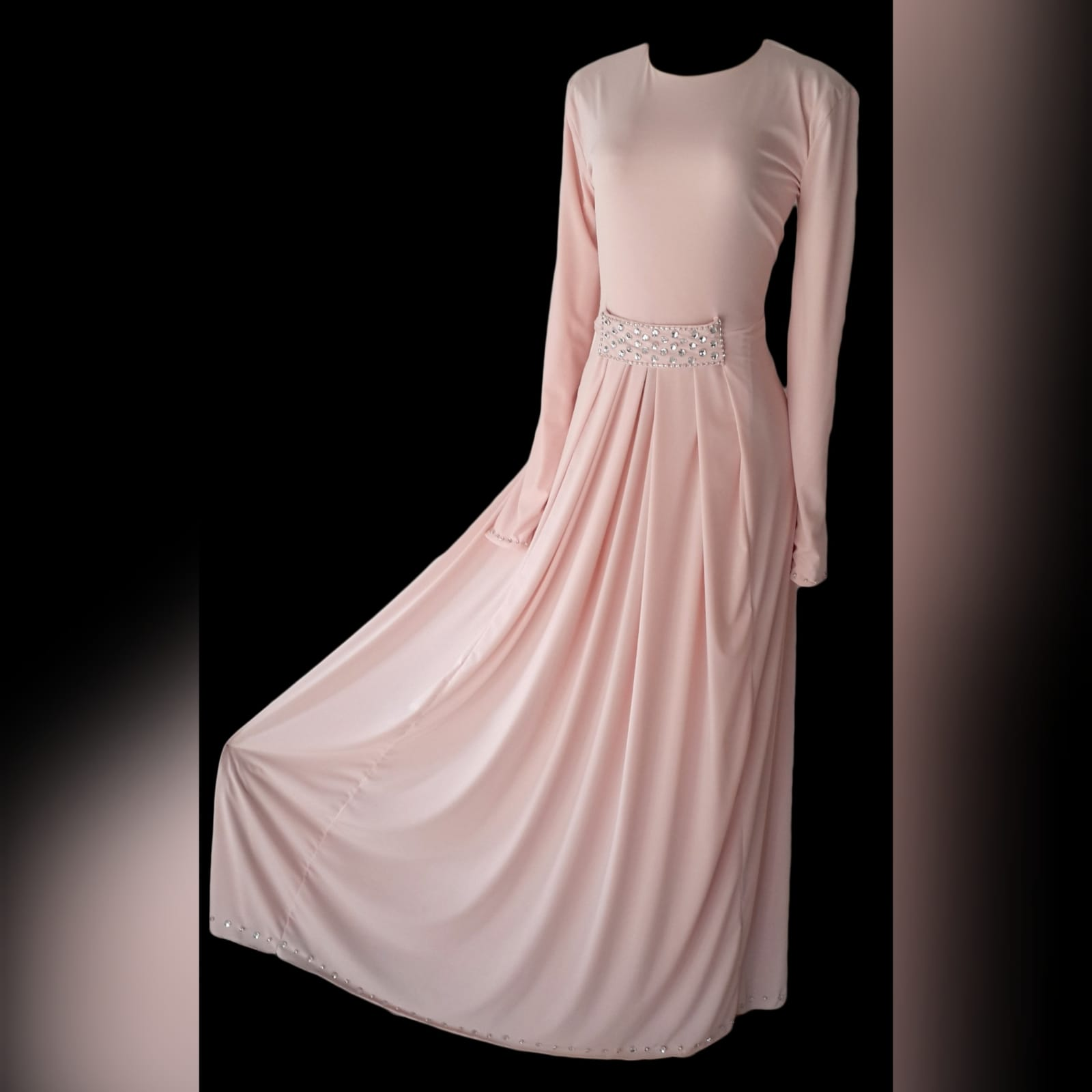 Pale pink long pleated islamic engagement evening dress 1 pale pink long pleated islamic engagement evening dress, with a front beaded belt and long sleeves