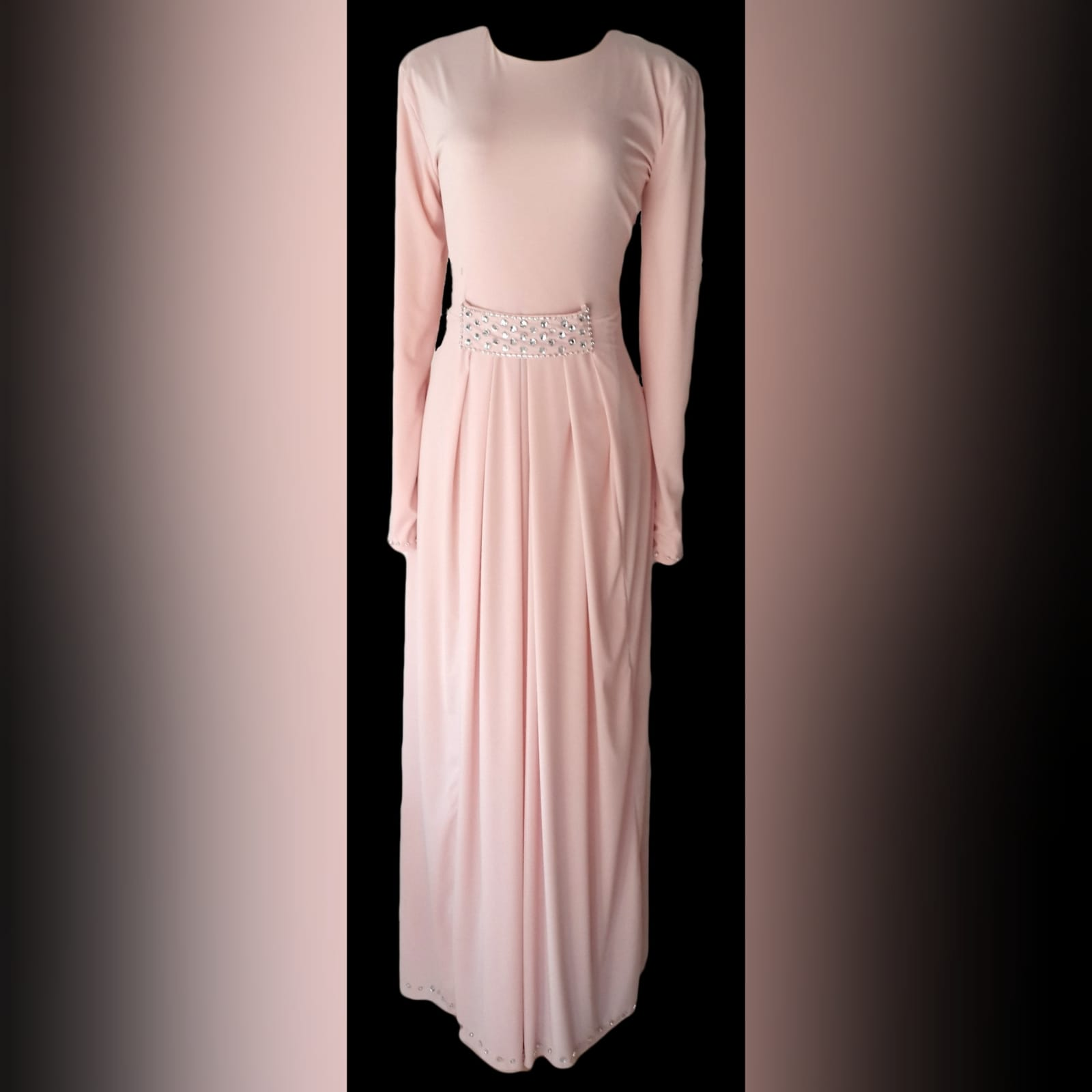 Pale pink long pleated islamic engagement evening dress 4 pale pink long pleated islamic engagement evening dress, with a front beaded belt and long sleeves