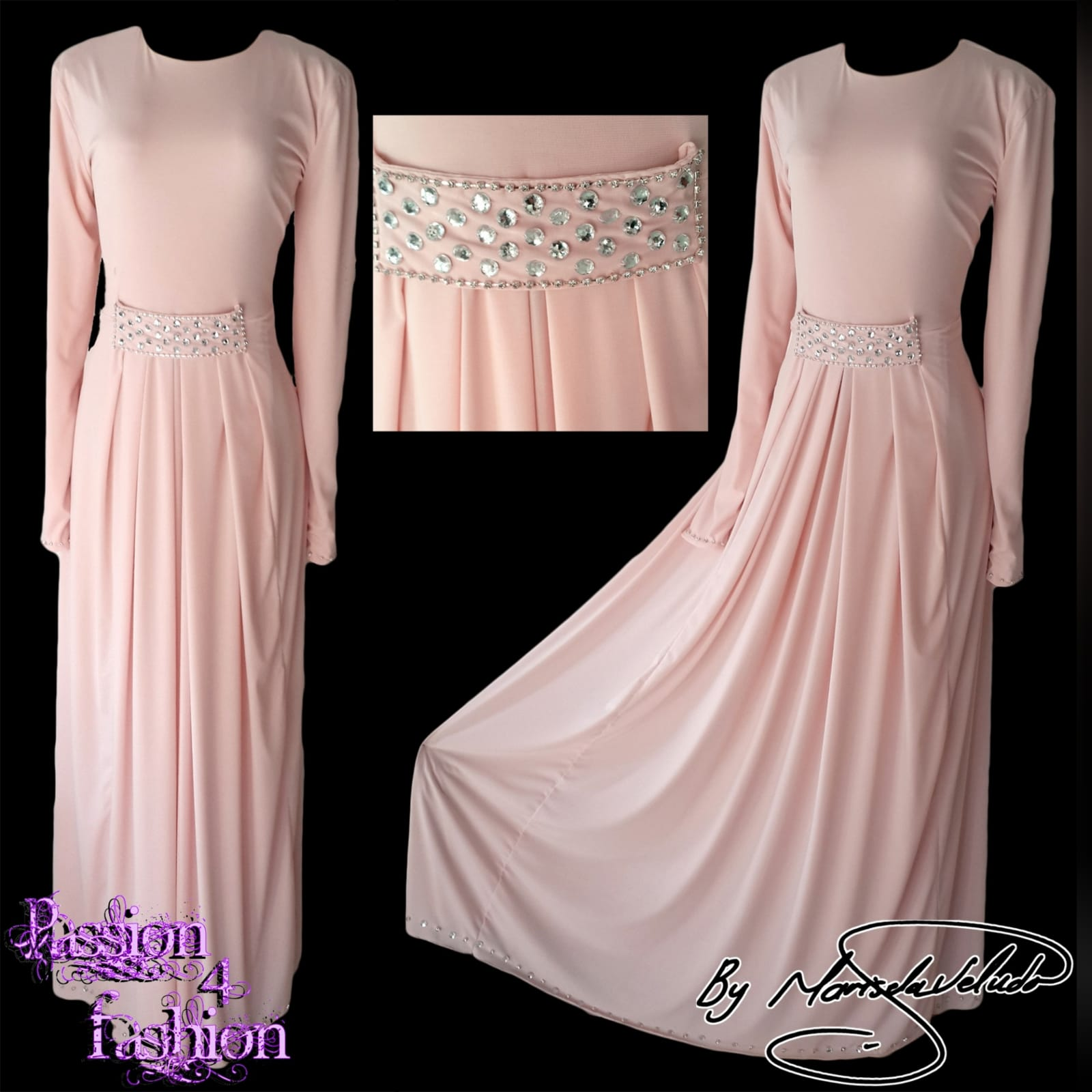 Pale pink long pleated islamic engagement evening dress 5 pale pink long pleated islamic engagement evening dress, with a front beaded belt and long sleeves