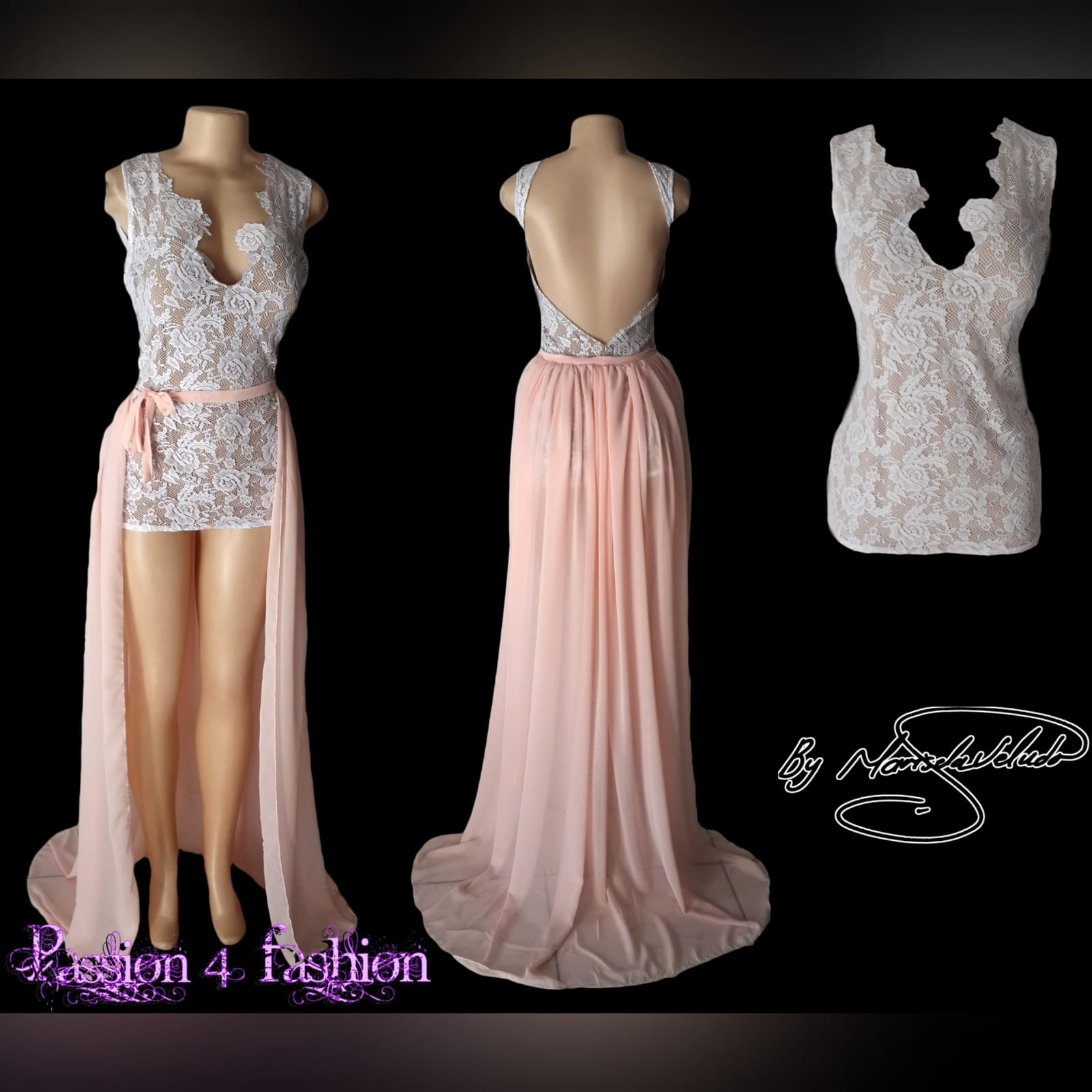 Peach and white 2 piece evening dress 5 peach and white 2 piece evening dress. Mini lace dress with a low open back, with a detachable back peach train