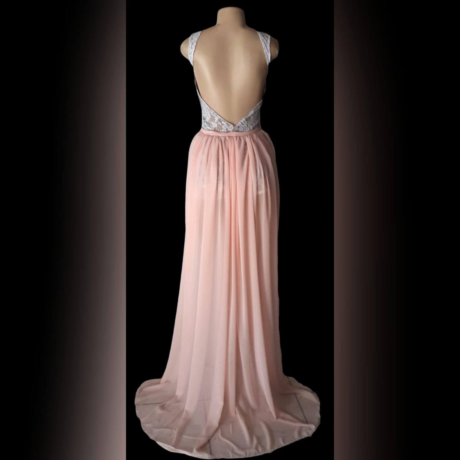 Peach and white 2 piece evening dress 4 peach and white 2 piece evening dress. Mini lace dress with a low open back, with a detachable back peach train