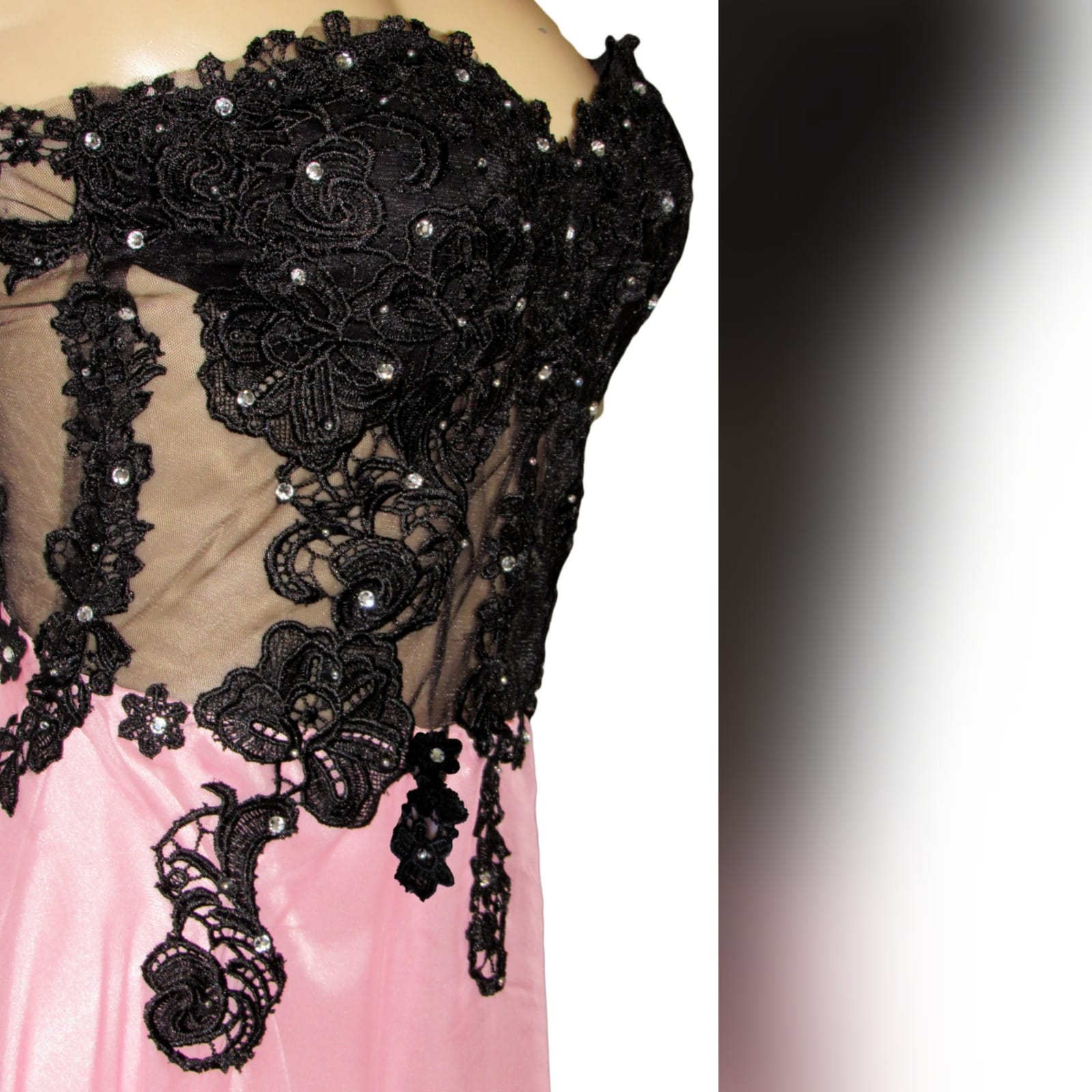 Pink and black illusion lace bodice boob tube prom dress 3 pink and black illusion lace bodice, boob tube prom dress detailed with silver beads.