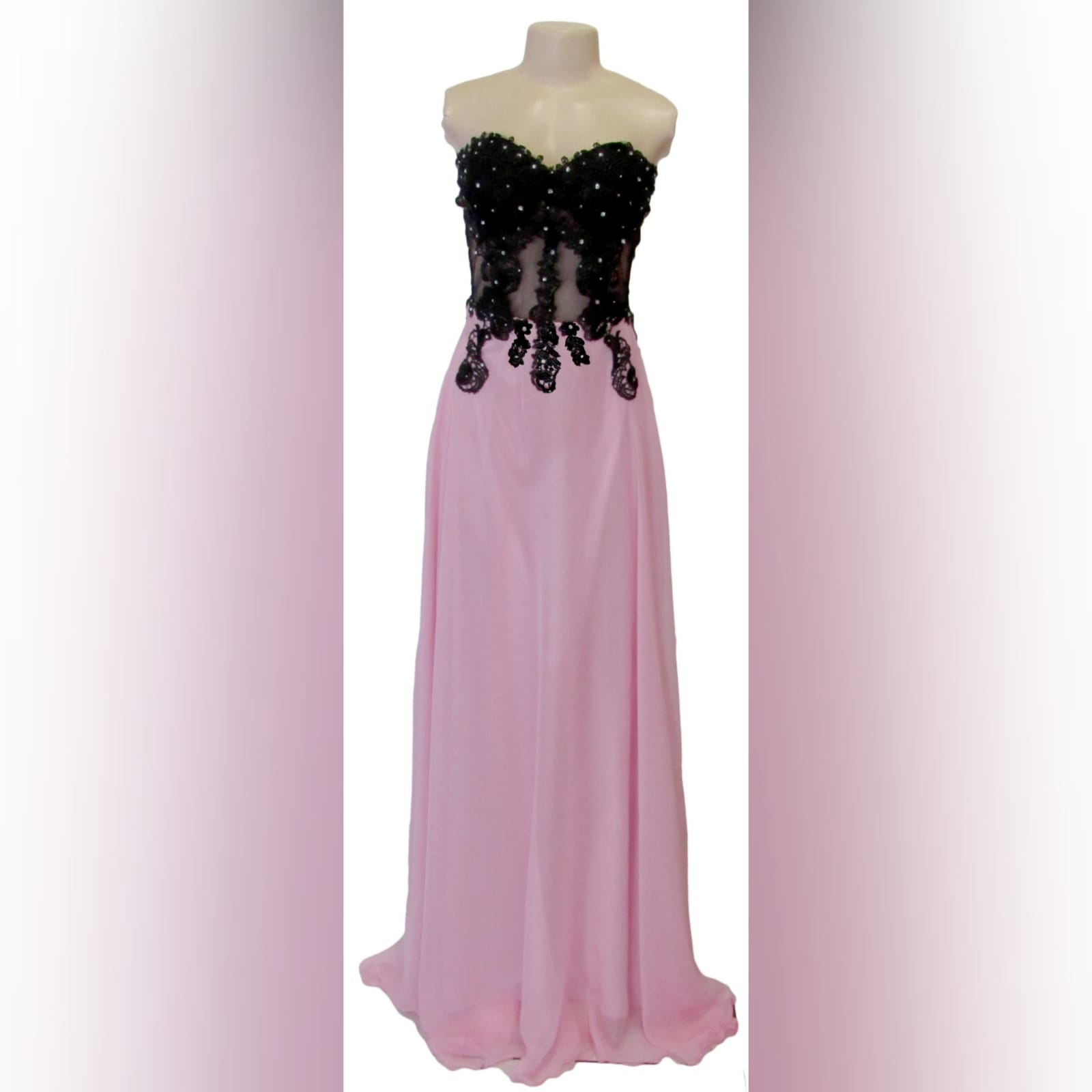 Pink and black illusion lace bodice boob tube prom dress 4 pink and black illusion lace bodice, boob tube prom dress detailed with silver beads.