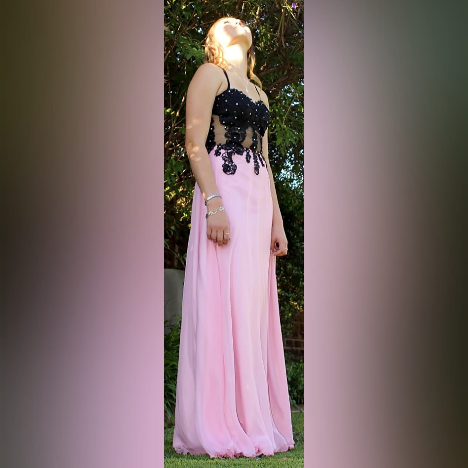 Pink and black illusion lace bodice boob tube prom dress 5 pink and black illusion lace bodice, boob tube prom dress detailed with silver beads.