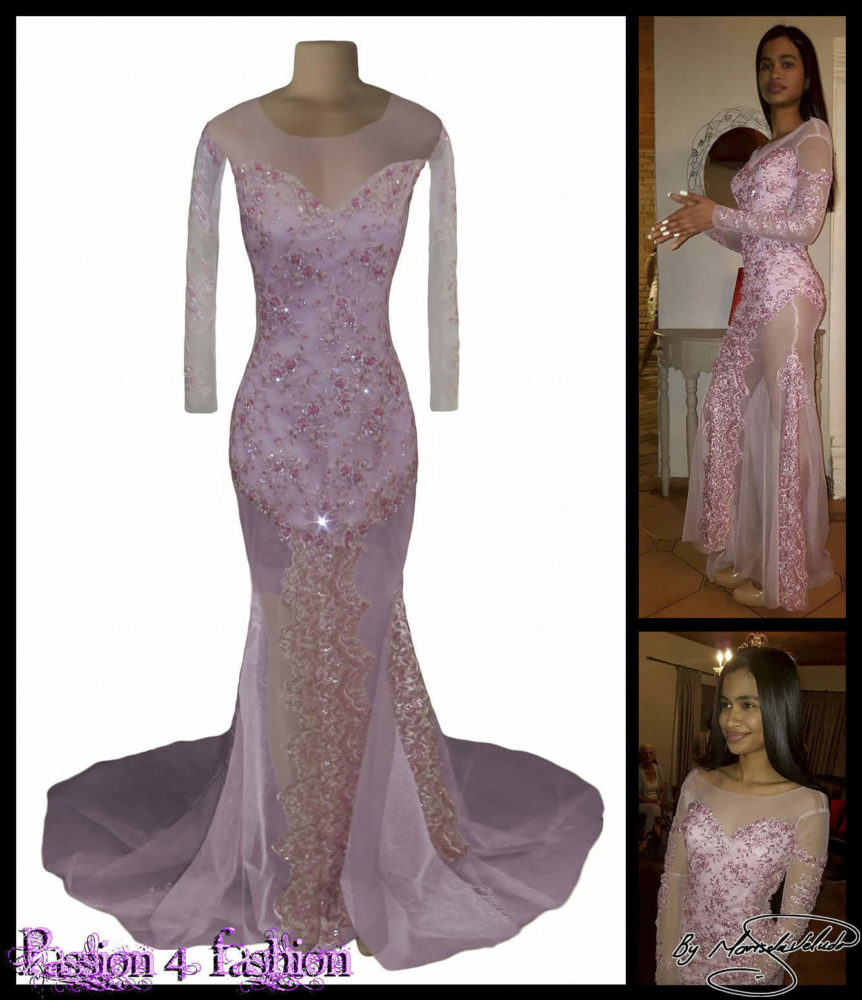 Pink long sheer prom dress detailed with lace and beads. With an off  shoulder effect