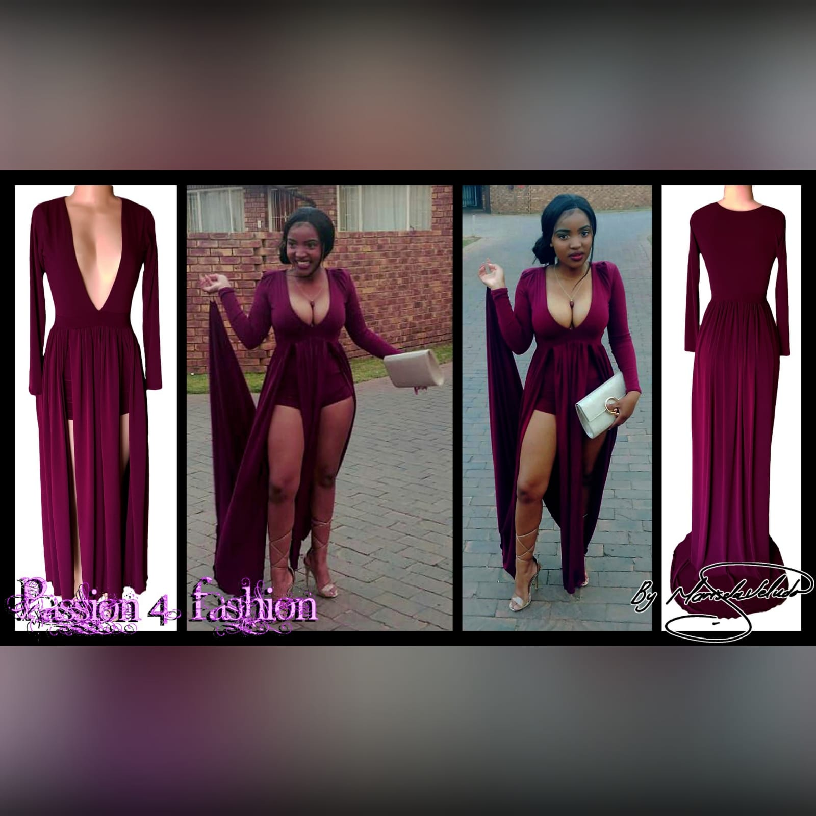 Plum flowy plunging neckline prom dress 5 plum flowy plunging neckline prom dress with long sleeves & 2 high slits and a train with matching shorts.