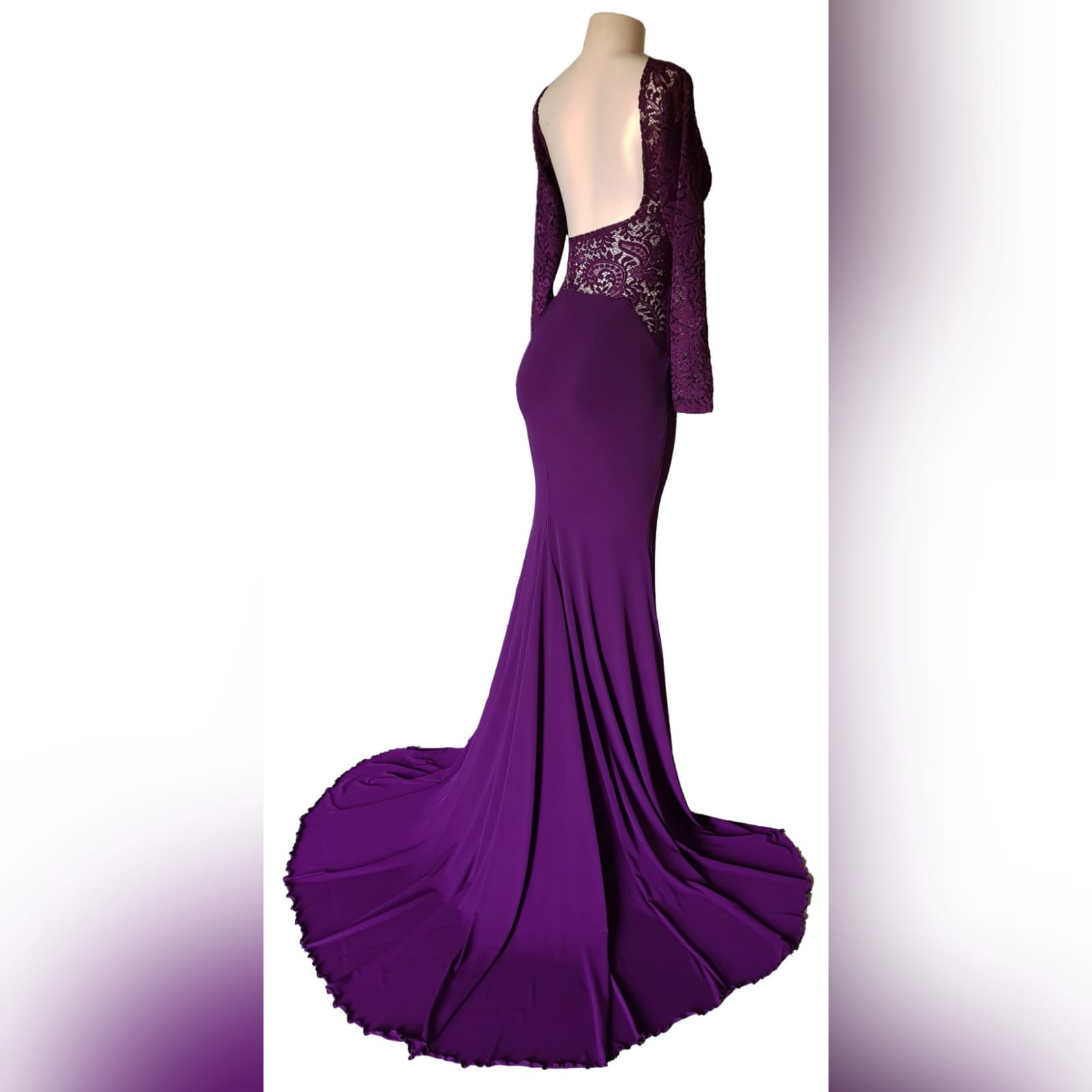Plum lace bodice soft mermaid matric dance dress 7 plum lace bodice, soft mermaid matric dance dress with a low open rounded open back and hip lace design. With long lace sleeves and a long train.