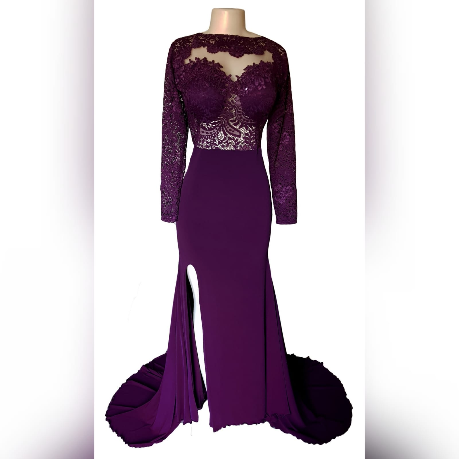 Plum lace bodice soft mermaid matric dance dress 3 plum lace bodice, soft mermaid matric dance dress with a low open rounded open back and hip lace design. With long lace sleeves and a long train.
