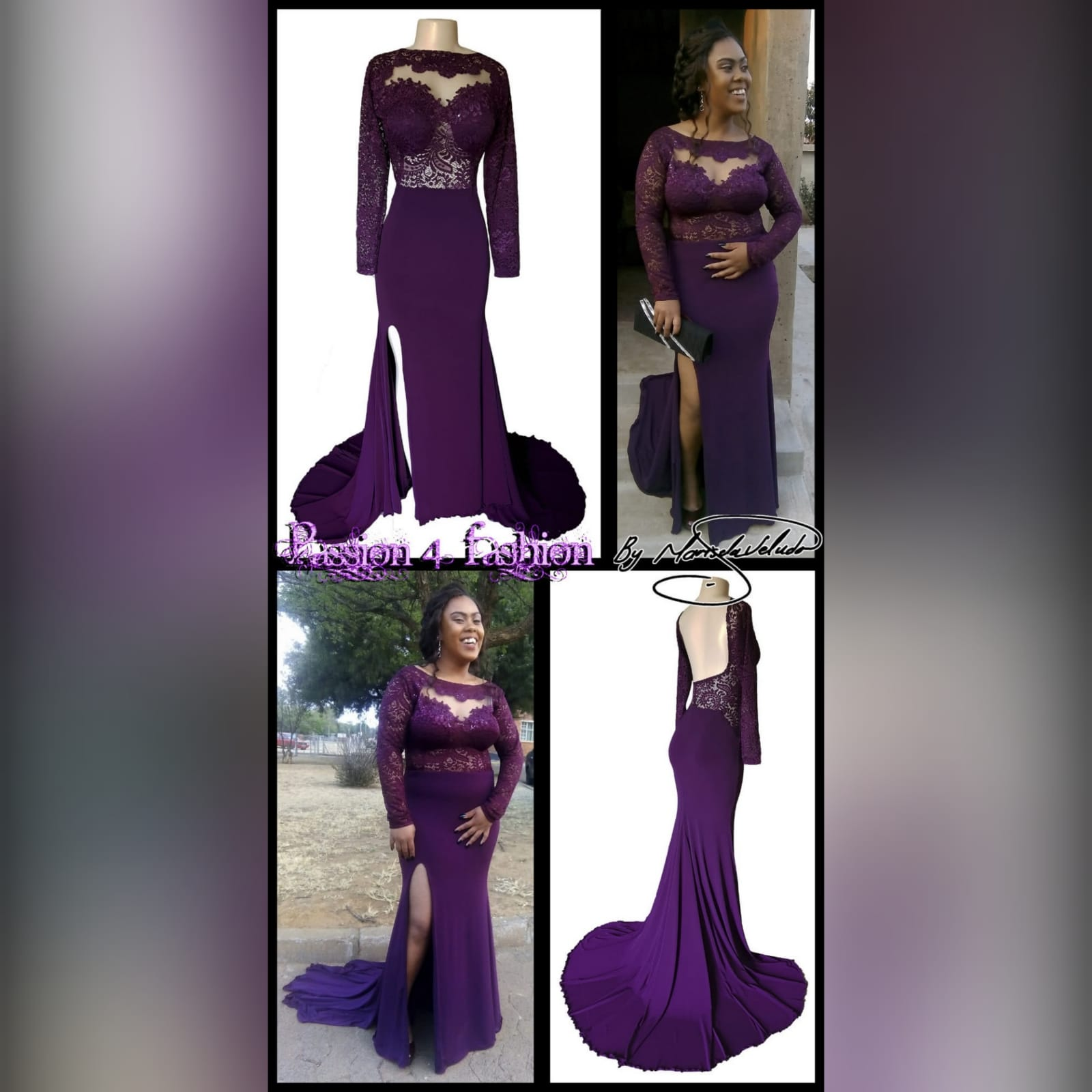 Plum lace bodice soft mermaid matric dance dress 2 plum lace bodice, soft mermaid matric dance dress with a low open rounded open back and hip lace design. With long lace sleeves and a long train.
