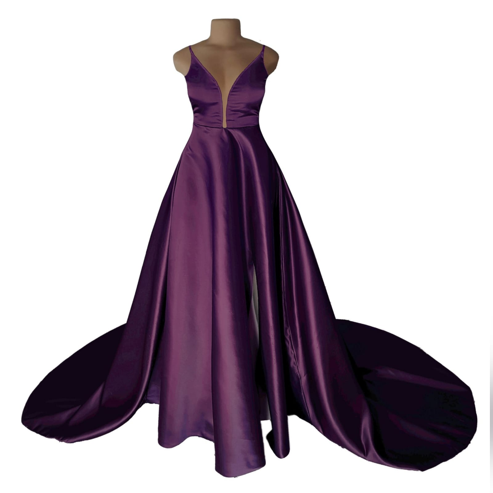 Plum long flowy prom dress with a plunging neckline 7 plum long flowy prom dress with a plunging neckline and a lace up open back with a slit and train.