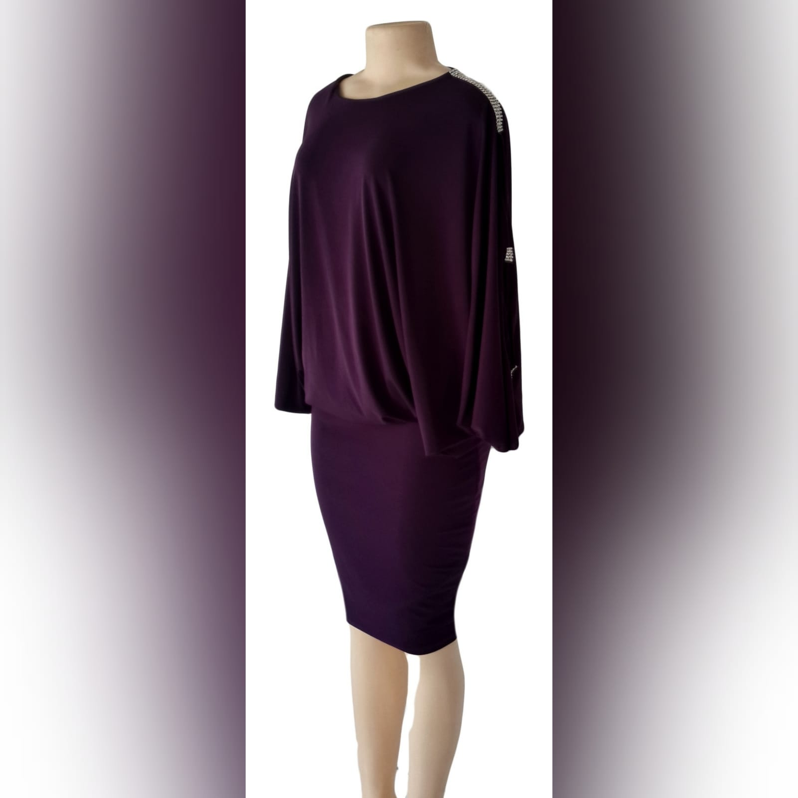 Plum smart casual knee length dress 1 plum smart casual knee length dress with wide sleeves and fitted hip area creating a mini skirt look