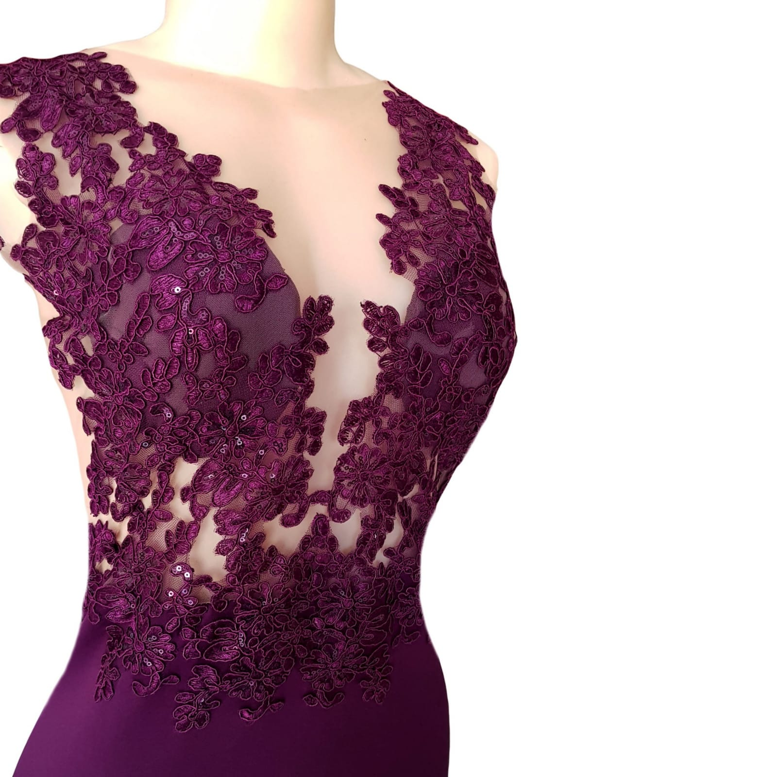 Plum soft mermaid gala dress illusion lace bodice 4 plum soft mermaid gala dress illusion lace bodice, open back detailed with lace. With a chiffon train with lace border.