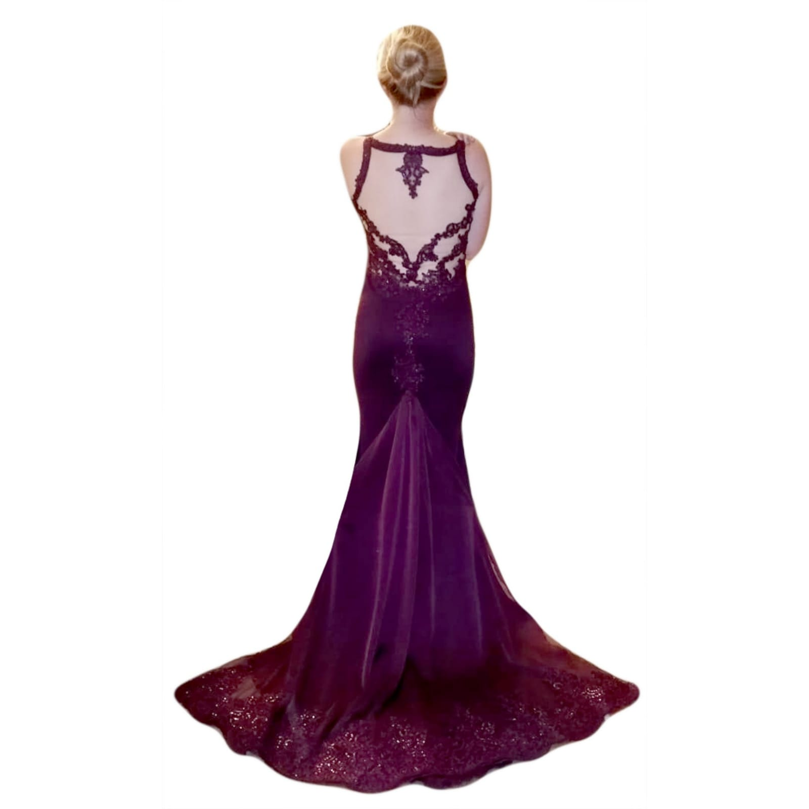 Plum soft mermaid gala dress illusion lace bodice 8 plum soft mermaid gala dress illusion lace bodice, open back detailed with lace. With a chiffon train with lace border.