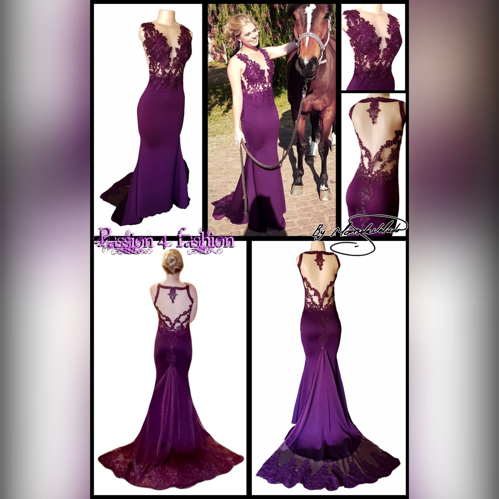Plum soft mermaid gala dress illusion lace bodice 3 plum soft mermaid gala dress illusion lace bodice, open back detailed with lace. With a chiffon train with lace border.