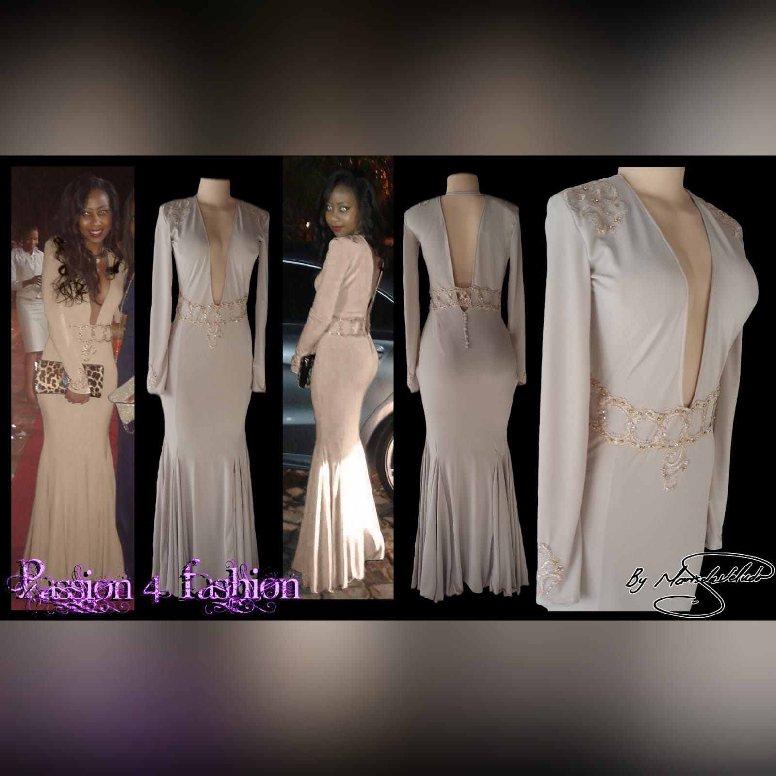Plunging neckline beige prom dance dress 4 beige soft mermaid, prom dance dress with a plunging neckline and a v back. With long sleeves, detailed with gold applique, with gold beads, creating a belt. Applique on the shoulders and sleeve cuffs.