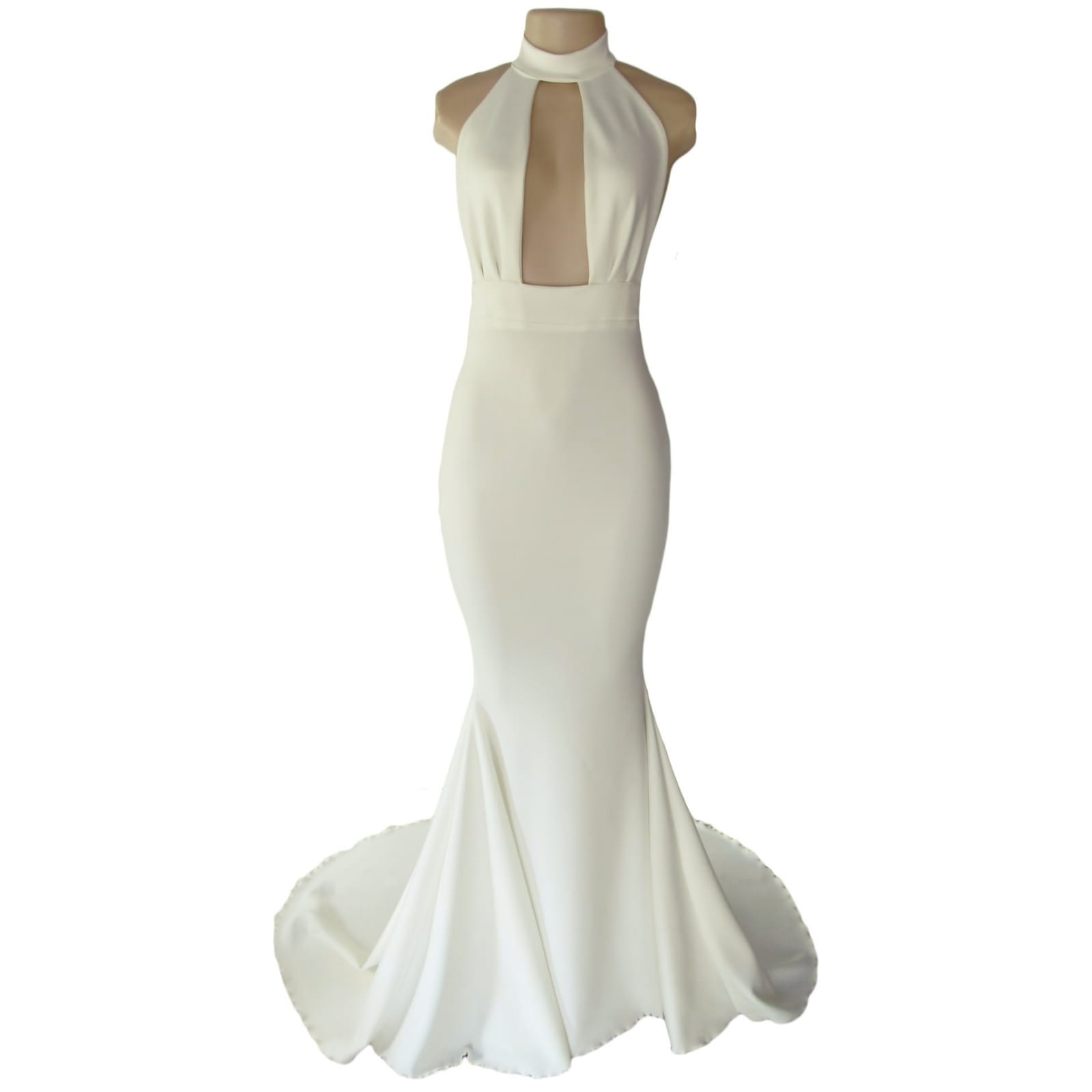 Plunging neckline ivory soft mermaid prom dress 4 ivory soft mermaid prom dress with a plunging and choker neckline with a naked back and a train