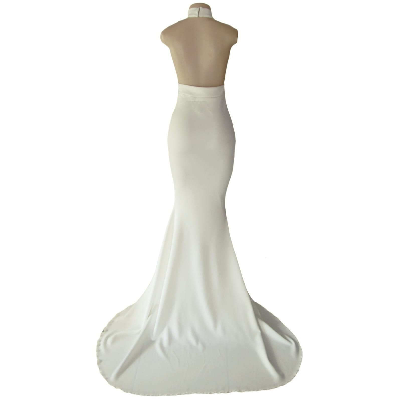 Plunging neckline ivory soft mermaid prom dress 7 ivory soft mermaid prom dress with a plunging and choker neckline with a naked back and a train