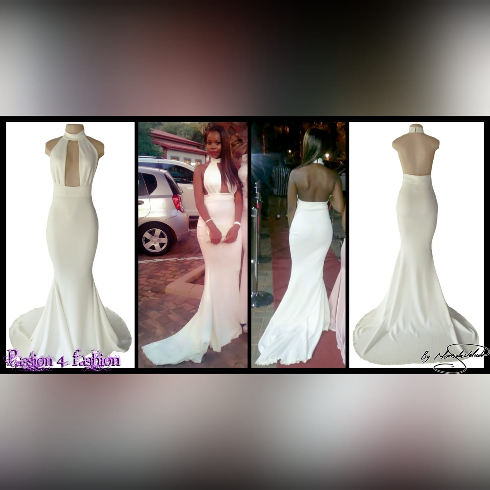 Plunging neckline ivory soft mermaid prom dress 2 ivory soft mermaid prom dress with a plunging and choker neckline with a naked back and a train