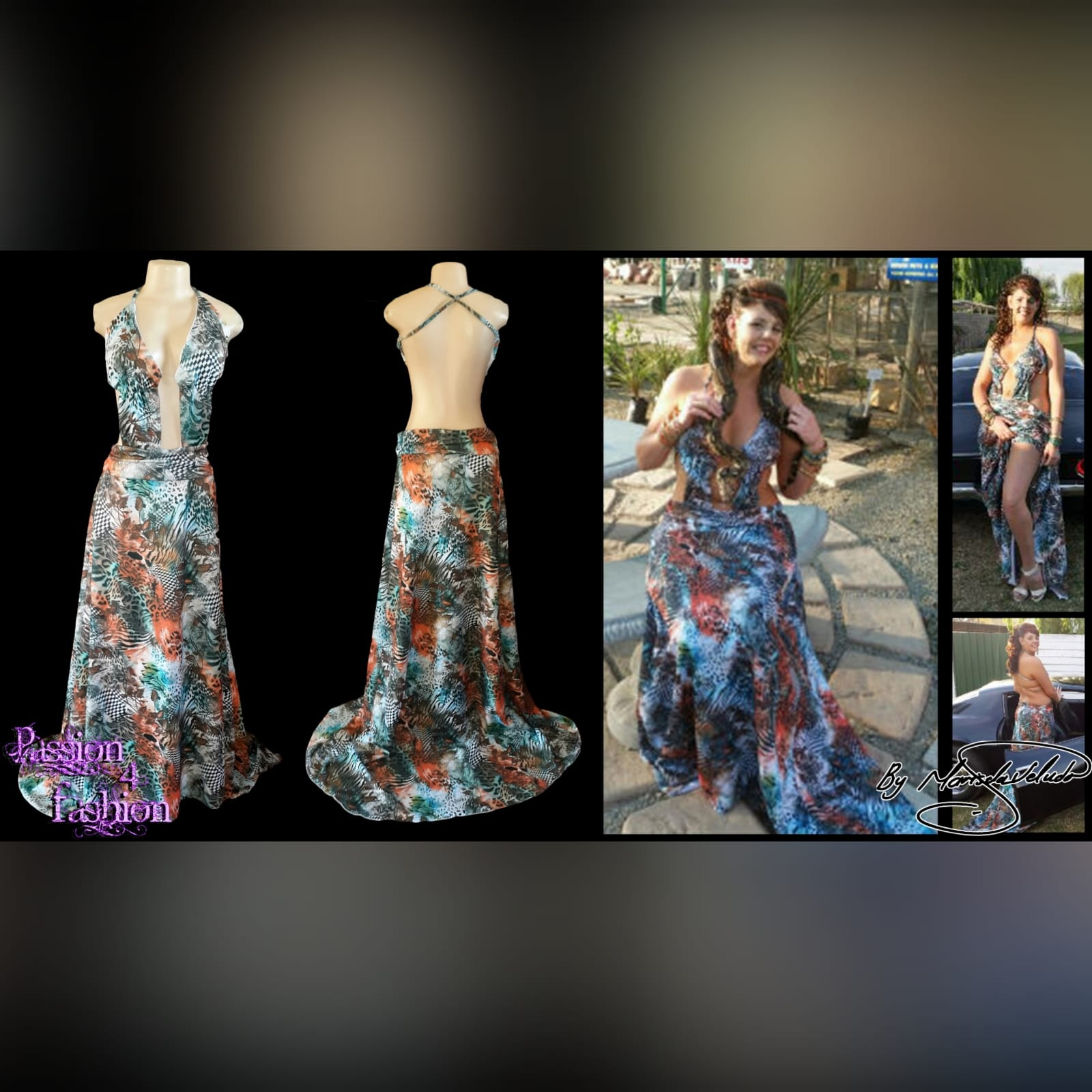 Printed long plunging neckline matric dance dress 3 printed long plunging neckline matric dance dress with a naked back and a train