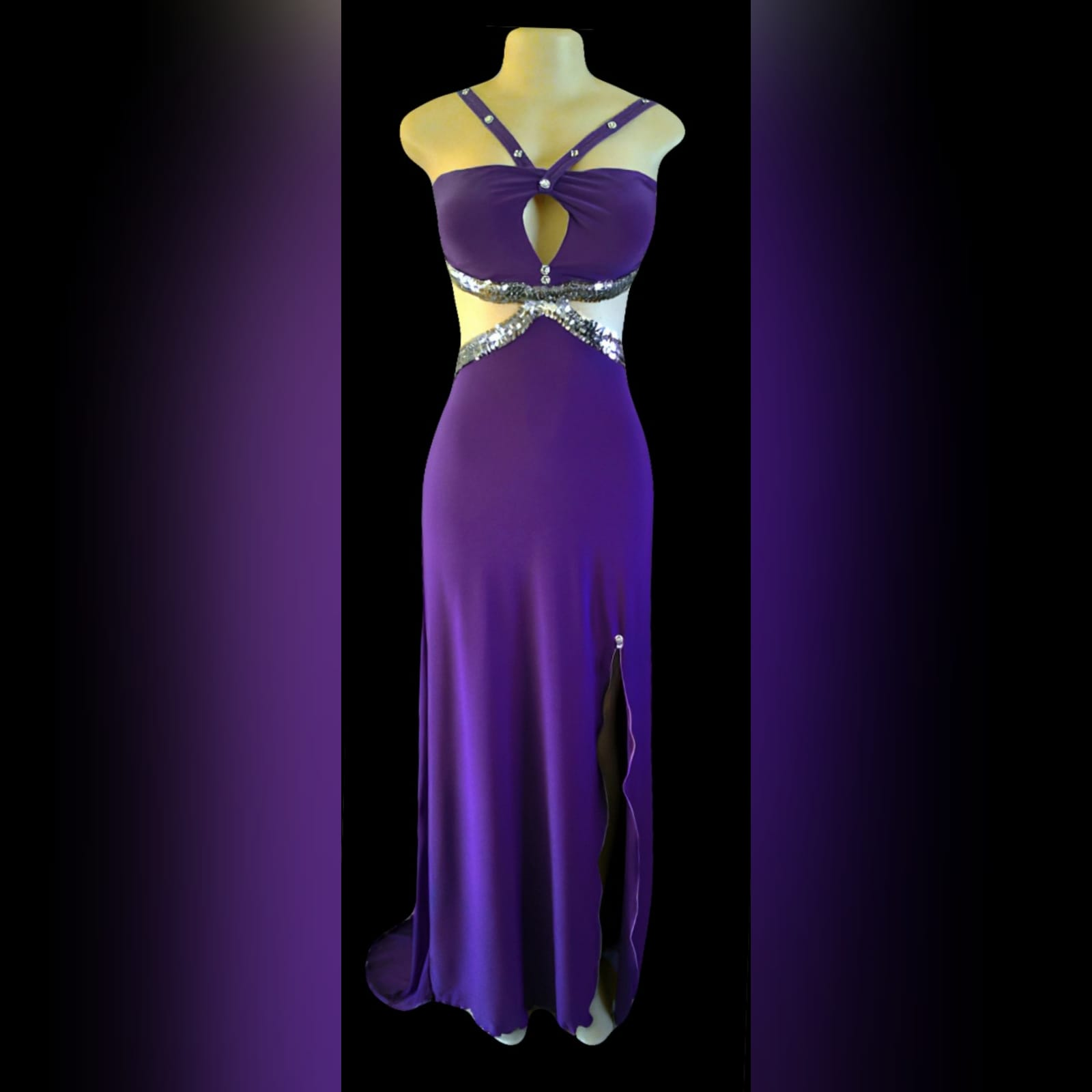 Purple long sexy prom dress 5 purple long sexy prom dress, with side tummy openings, cleavage opening, open low back and a slit, all detailed with silver sequins.