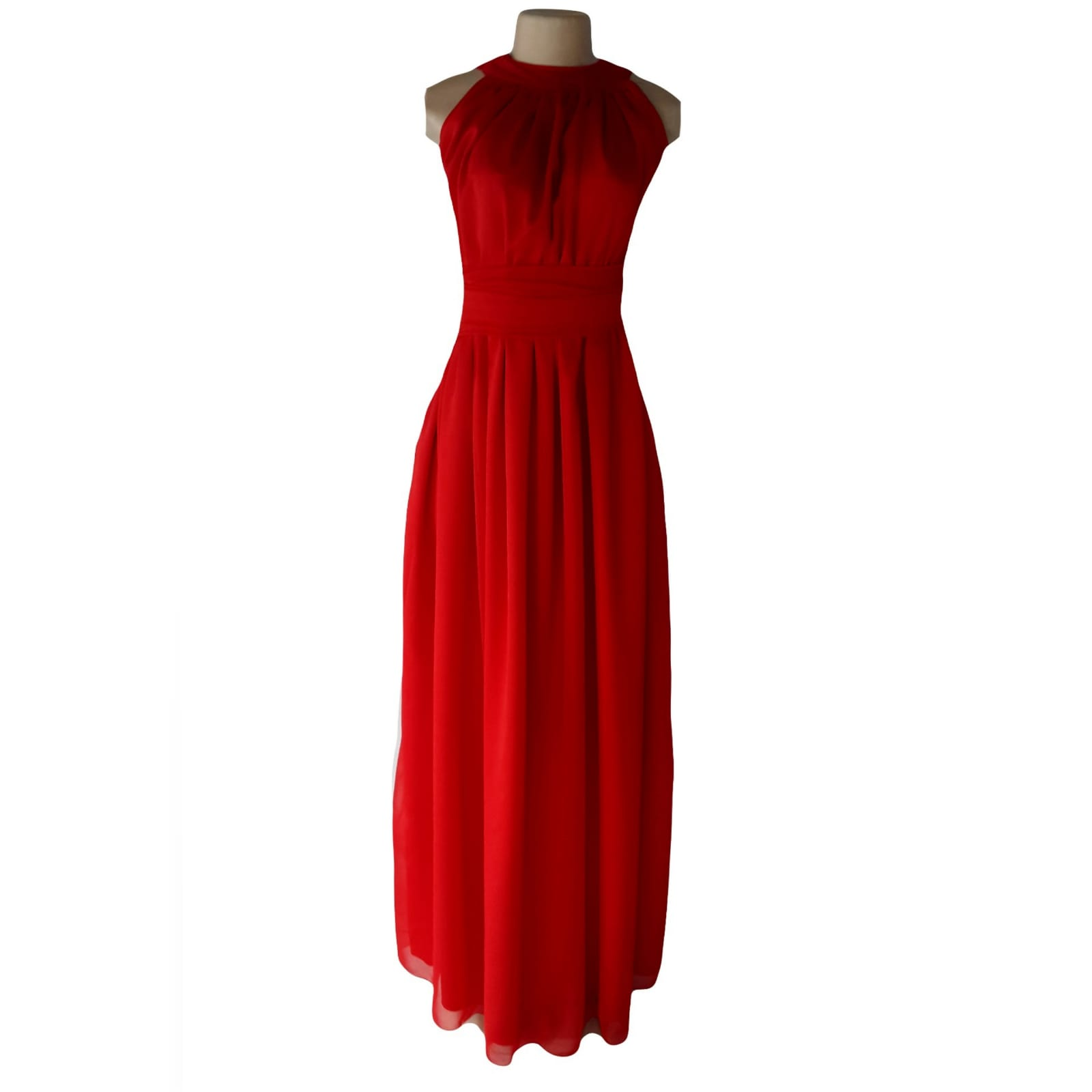 Long red chiffon evening dress 1 long red chiffon evening dress, with a gathered neckline, gathered belt and gathered bottom part