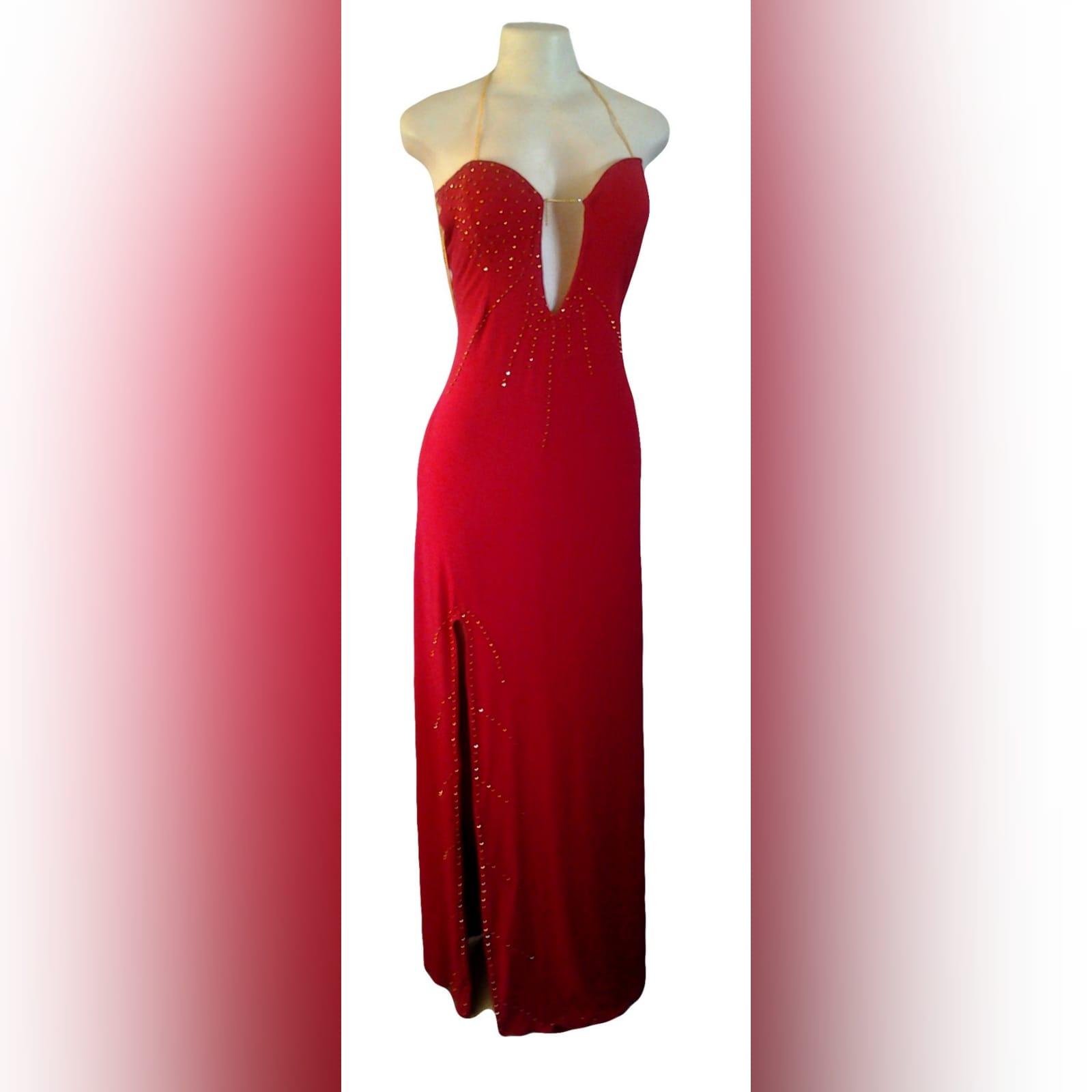 Red and gold long sexy gala dress 6 red and gold long sexy gala dress with an open back detailed with gold chain. With a slit detailed with gold beads.