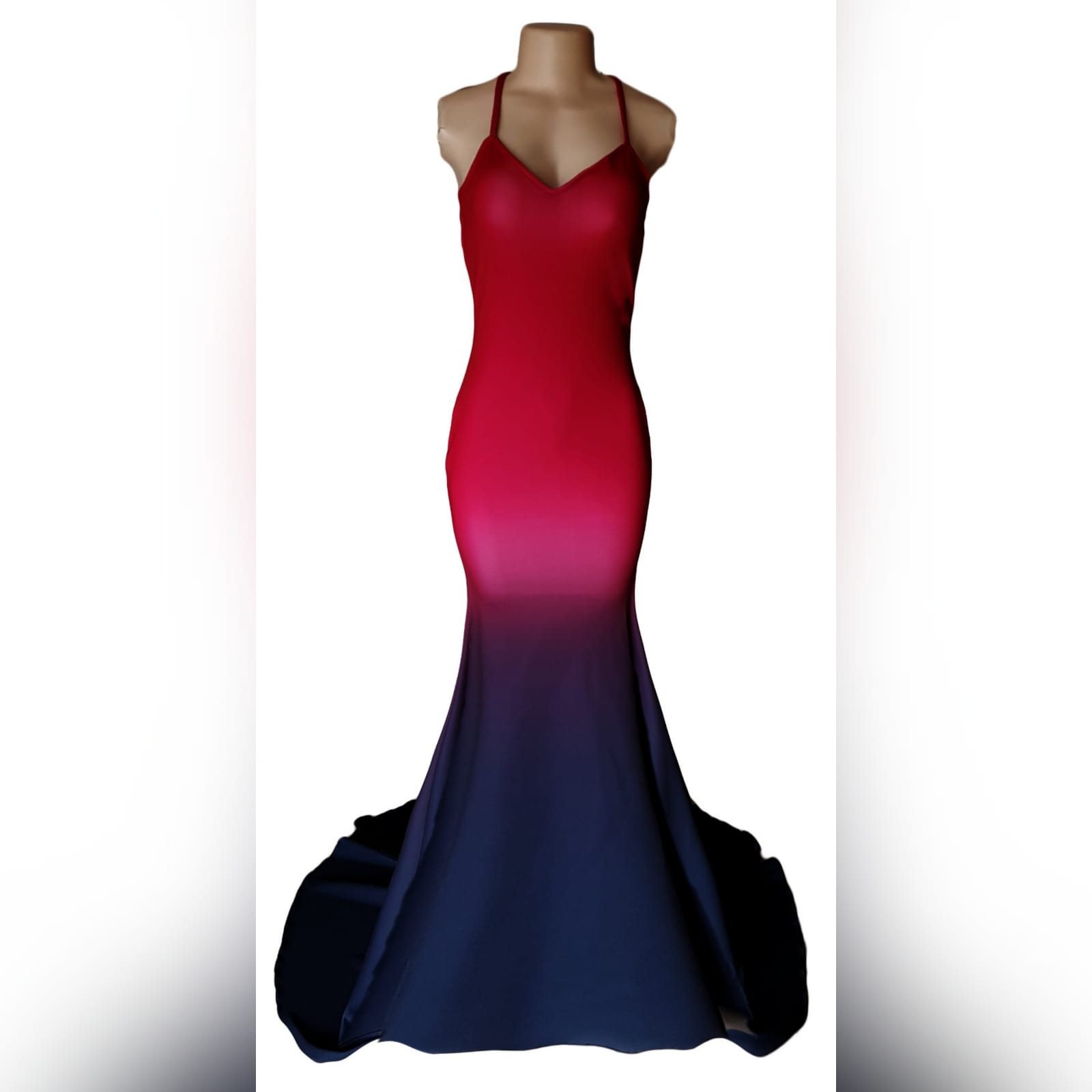 Red black ombre mermaid prom dress 2 red and black ombre mermaid sexy prom dress. With a v neckline, low open back with crossed shoulder straps and long train.