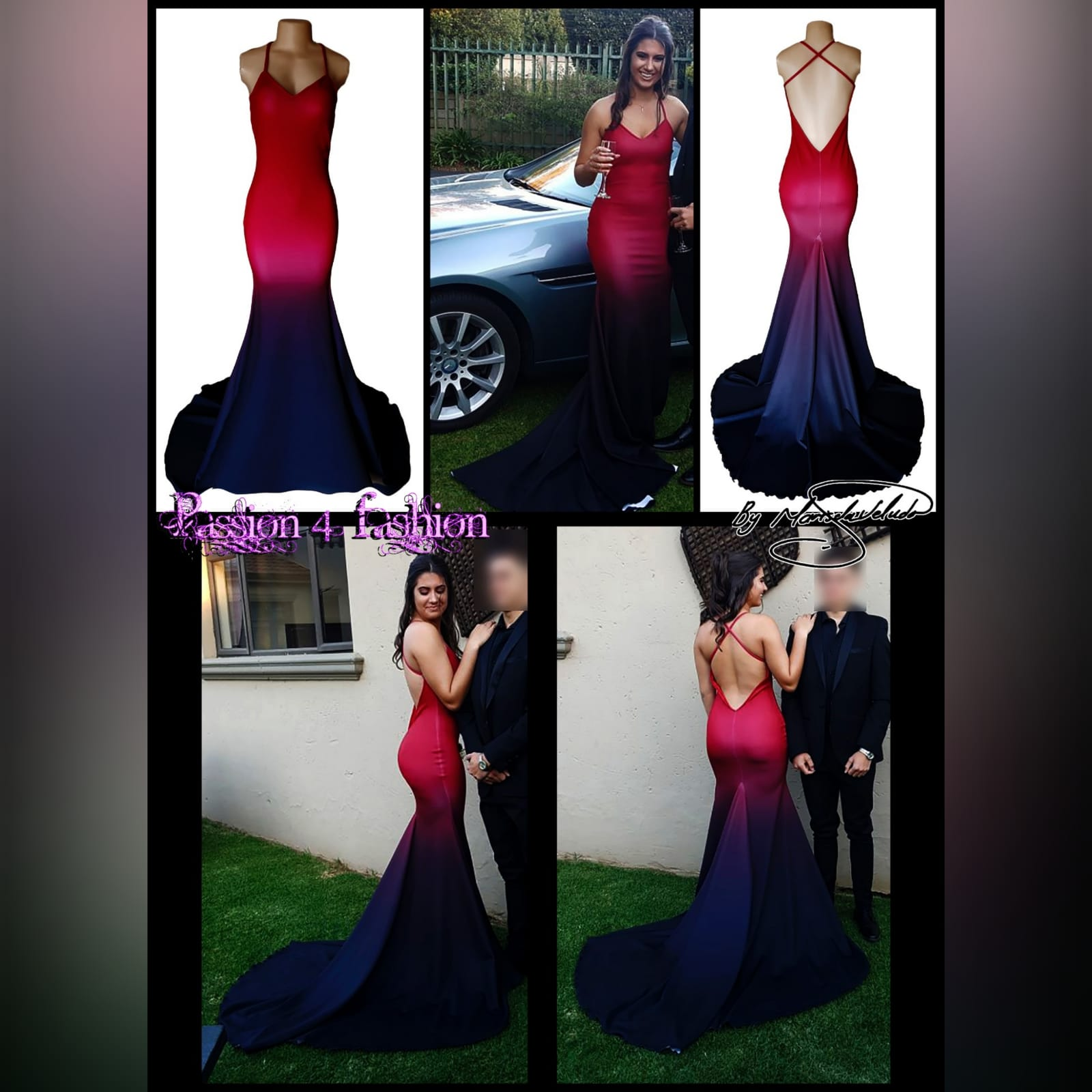 Red black ombre mermaid prom dress 5 red and black ombre mermaid sexy prom dress. With a v neckline, low open back with crossed shoulder straps and long train.