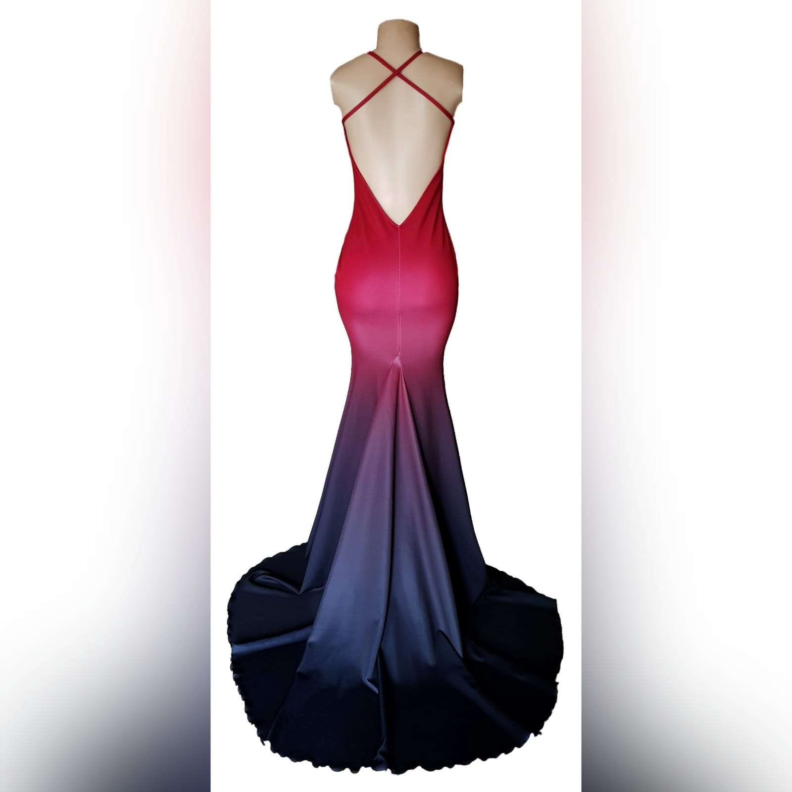 Red black ombre mermaid prom dress 6 red and black ombre mermaid sexy prom dress. With a v neckline, low open back with crossed shoulder straps and long train.
