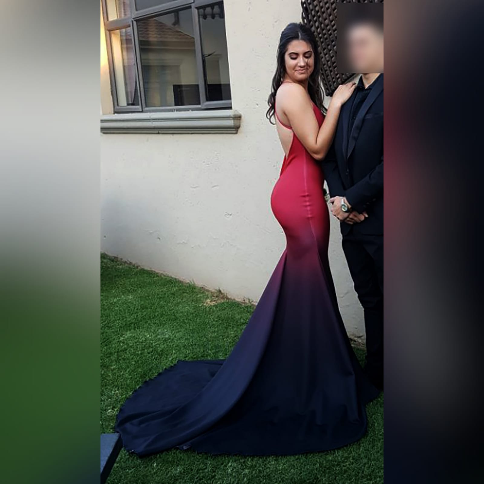 Red black ombre mermaid prom dress 1 red and black ombre mermaid sexy prom dress. With a v neckline, low open back with crossed shoulder straps and long train.