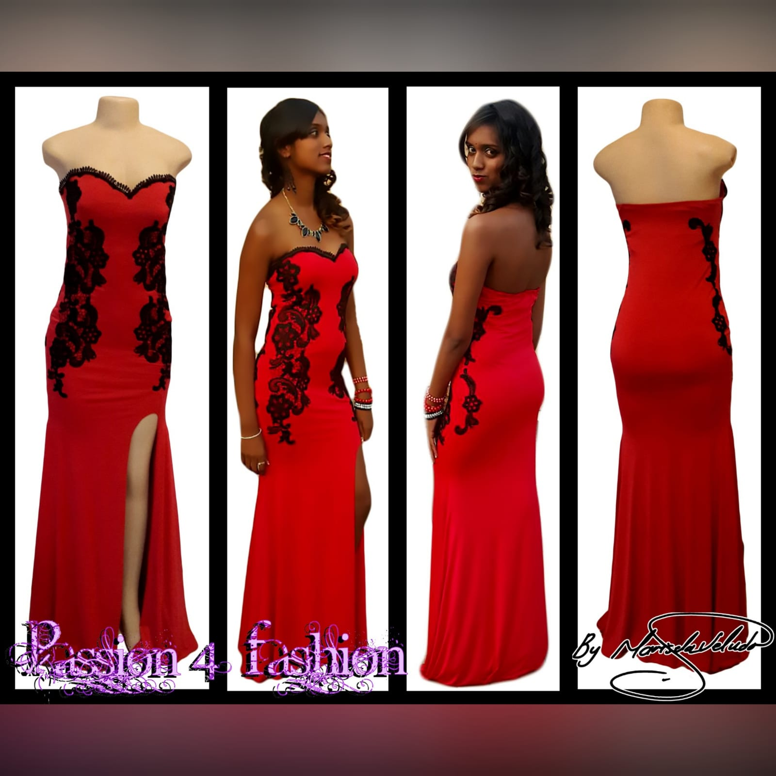 Red evening dress detailed with black lace 4 red evening dress detailed with black lace on the sides, front & back. With a sweetheart neckline finished with black scallop lace.