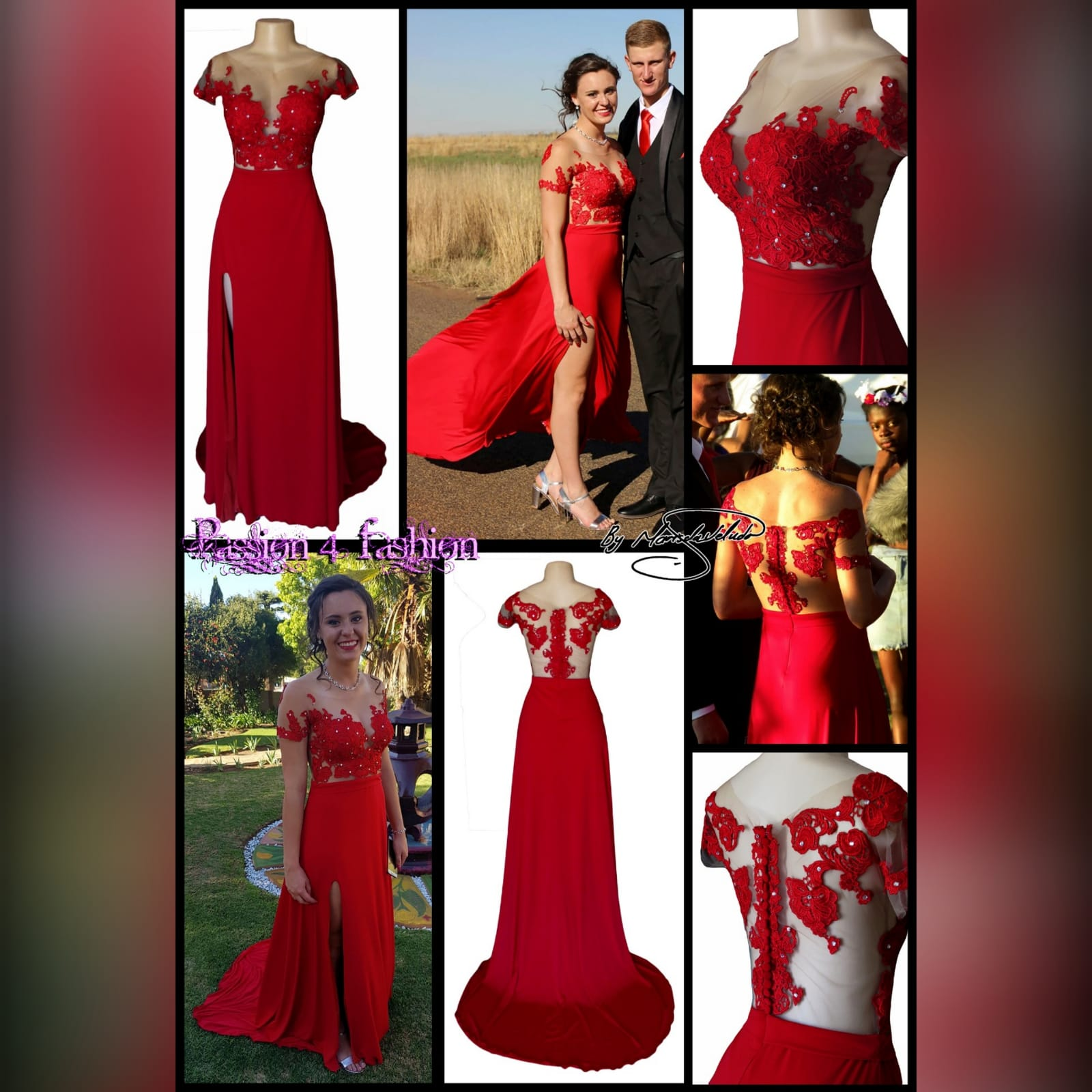 Red flowy lace bodice prom dress 5 red flowy lace bodice prom dress. With an illusion lace bodice detailed with silver beads and buttons. Evening dress with a slit and a train.