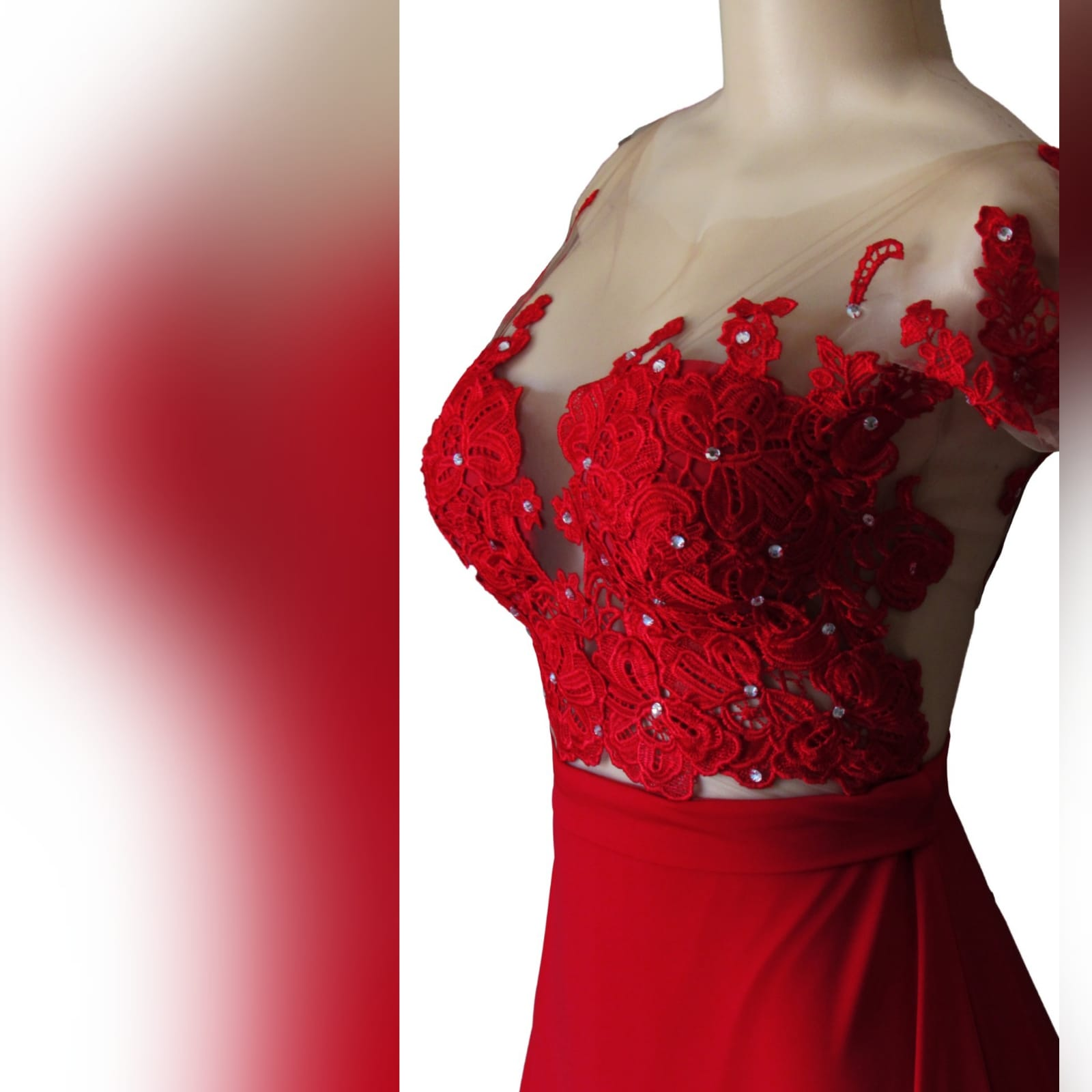 Red flowy lace bodice prom dress 9 red flowy lace bodice prom dress. With an illusion lace bodice detailed with silver beads and buttons. Evening dress with a slit and a train.