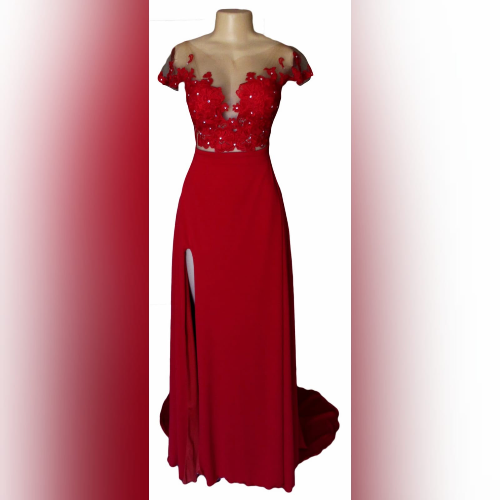 Red flowy lace bodice prom dress 10 red flowy lace bodice prom dress. With an illusion lace bodice detailed with silver beads and buttons. Evening dress with a slit and a train.