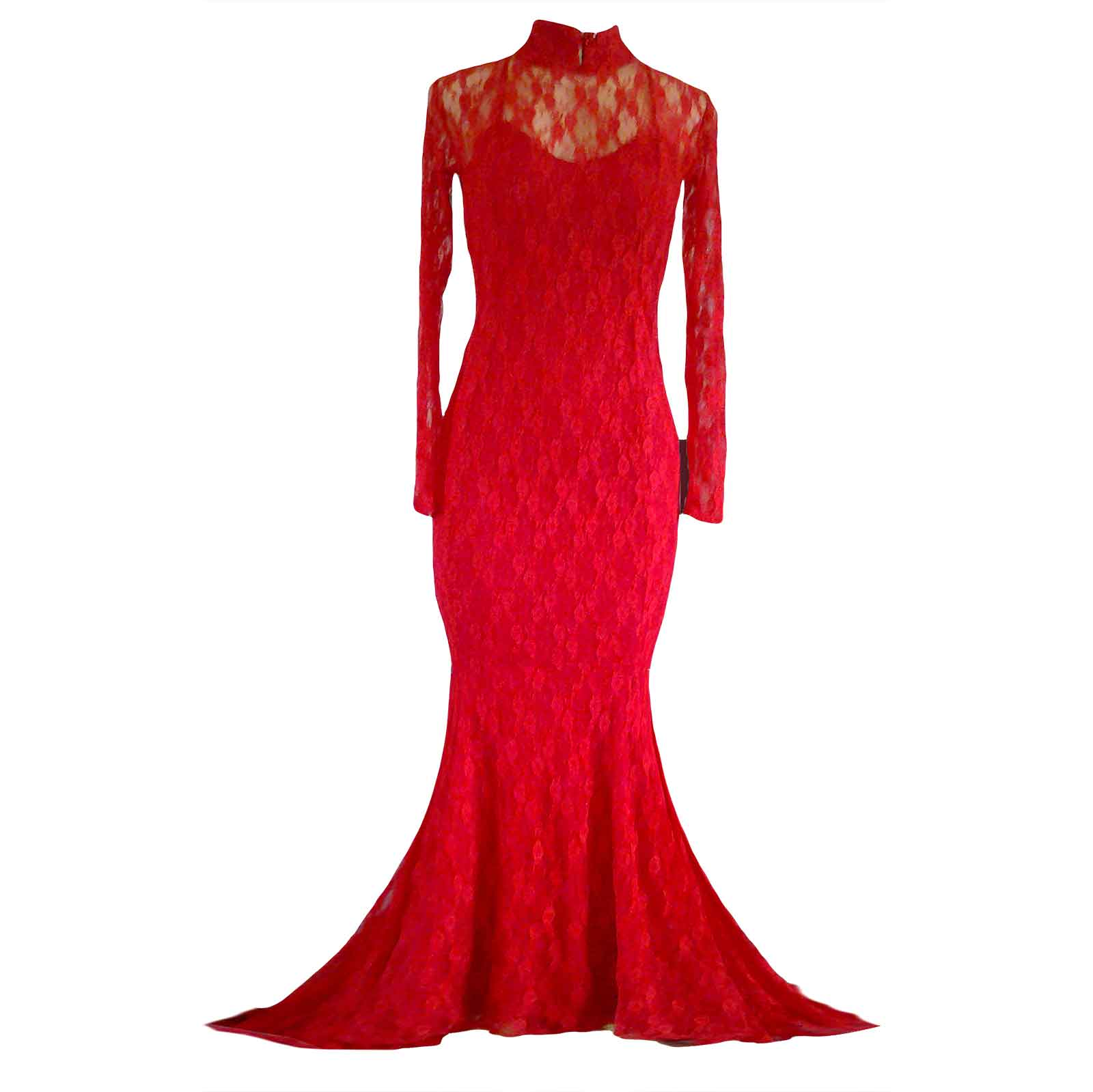 Red fully lace soft mermaid evening dress 3 red fully lace soft mermaid evening dress for a party, with a choker neckline, long sheer sleeves, low back with lace over it and a train.