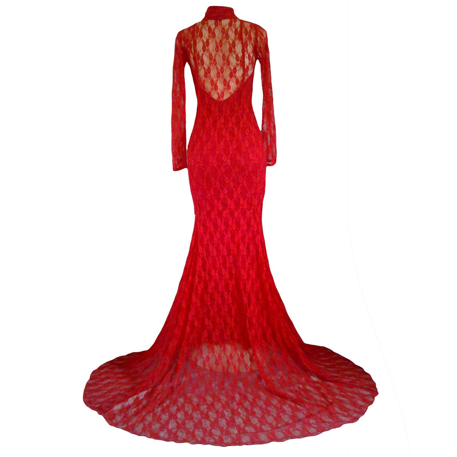 Red fully lace soft mermaid evening dress 2 red fully lace soft mermaid evening dress for a party, with a choker neckline, long sheer sleeves, low back with lace over it and a train.
