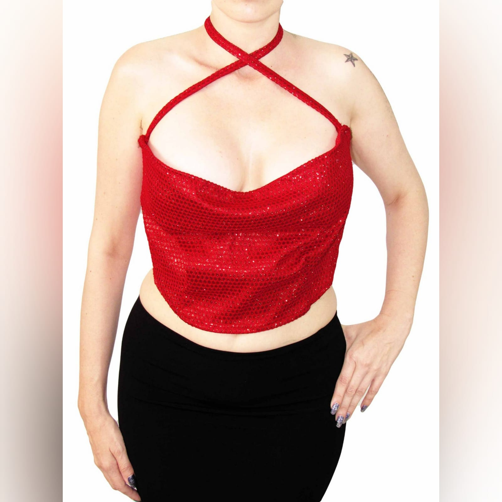 Red glitter crop top 3 red glitter crop top. Handmade crop top, one of a kindwith a tie-up back to adjust fit. Neck string can be tied up in different ways. This crop top has a cowlneck, that can be made higher or lower depending on how you choose to tie it up. A great sexy red top for a warm summers day or a fun night out.