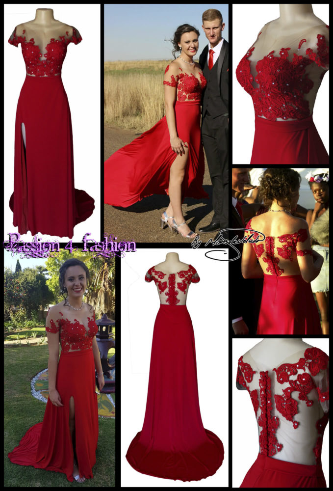 Red flowy lace bodice prom dress. with an illusion lace bodice detailed with silver beads and buttons. Evening dress with a slit and a train.