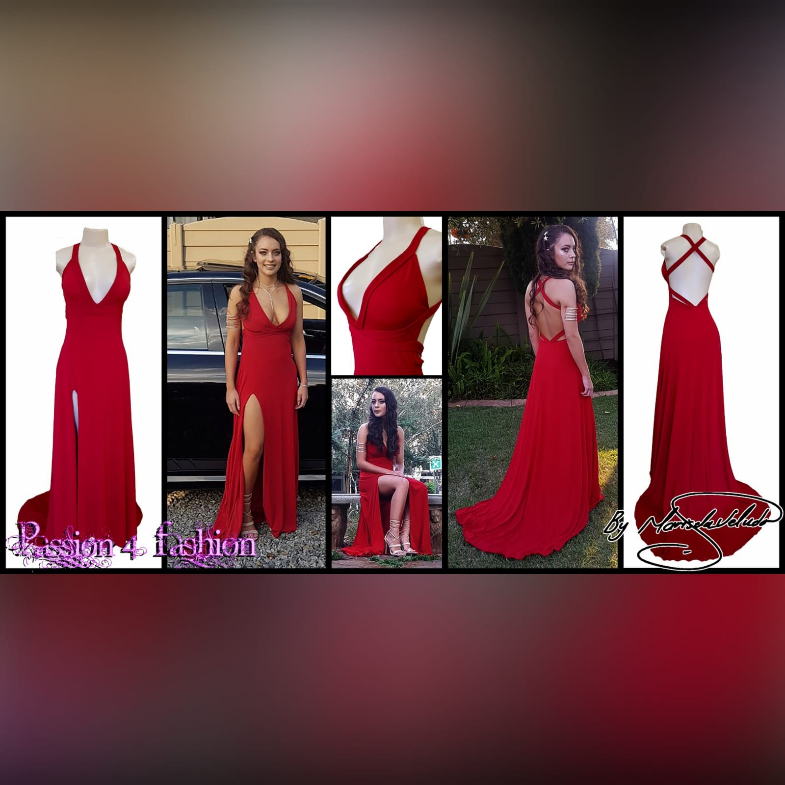 Red long sexy long prom dress 4 red long sexy long prom dress with a low v neckline & slit, a low open back with cross straps on the upper back, with a train.