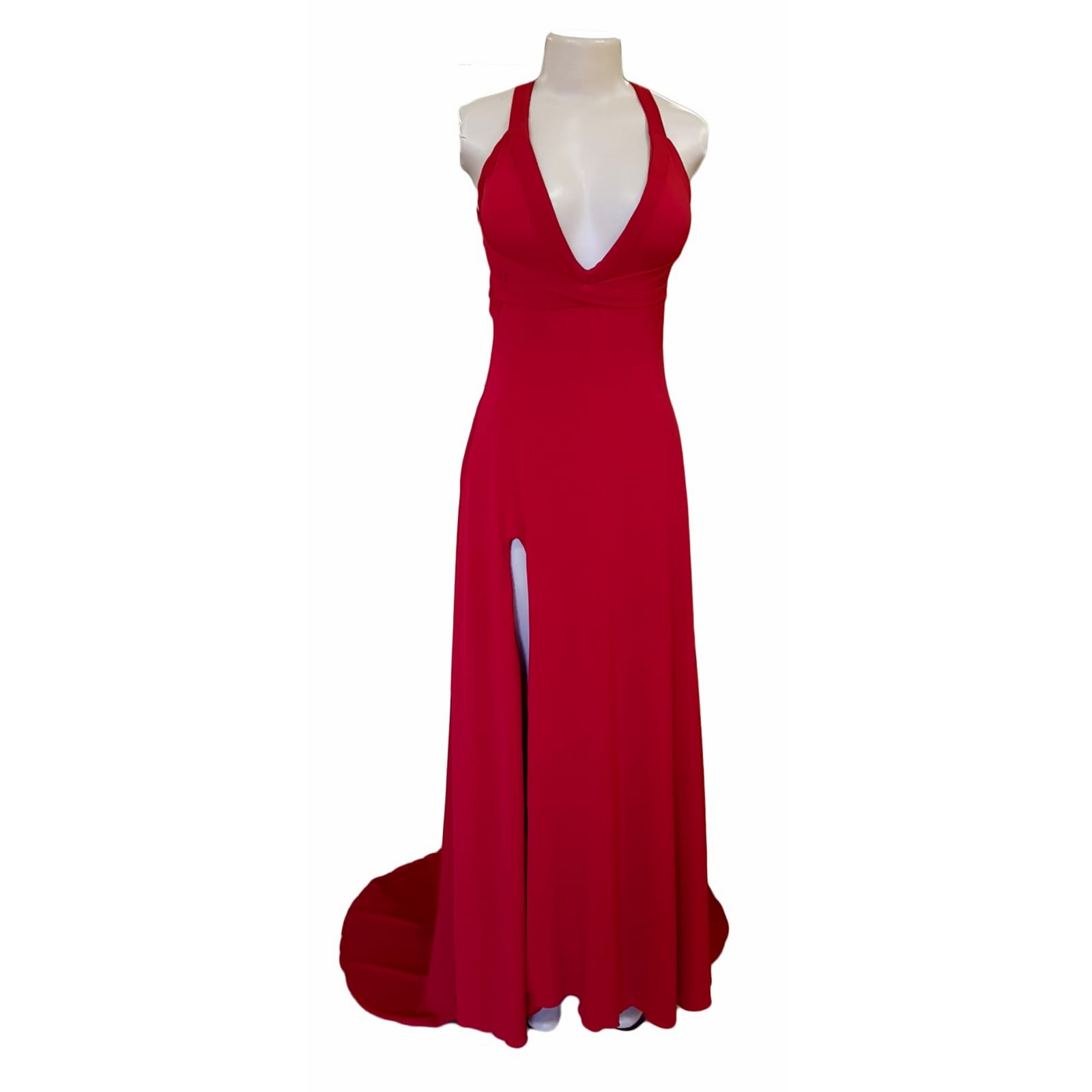 Red long sexy long prom dress 5 red long sexy long prom dress with a low v neckline & slit, a low open back with cross straps on the upper back, with a train.
