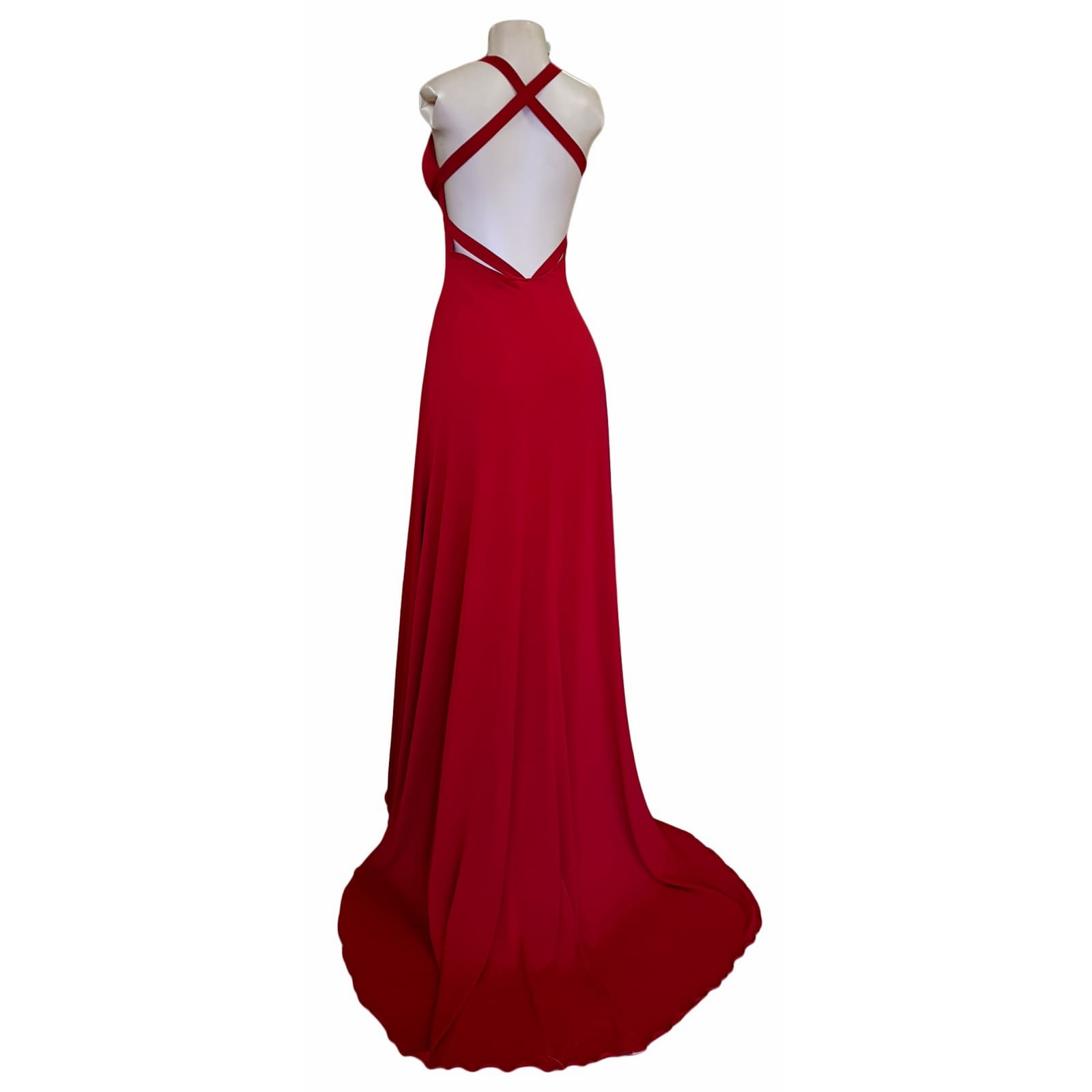 Red long sexy long prom dress 6 red long sexy long prom dress with a low v neckline & slit, a low open back with cross straps on the upper back, with a train.