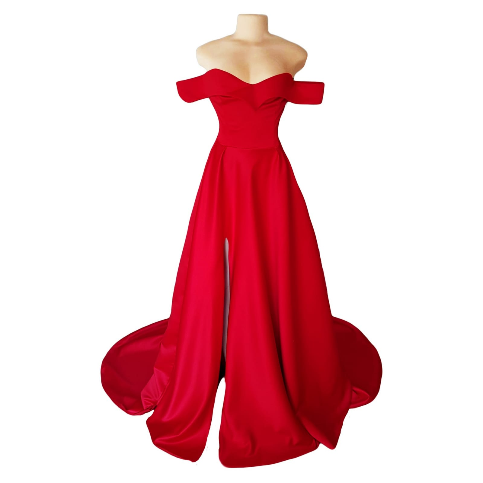 Red off shoulder flowy long prom dress 5 red off shoulder flowy long prom dress with a slit and a train