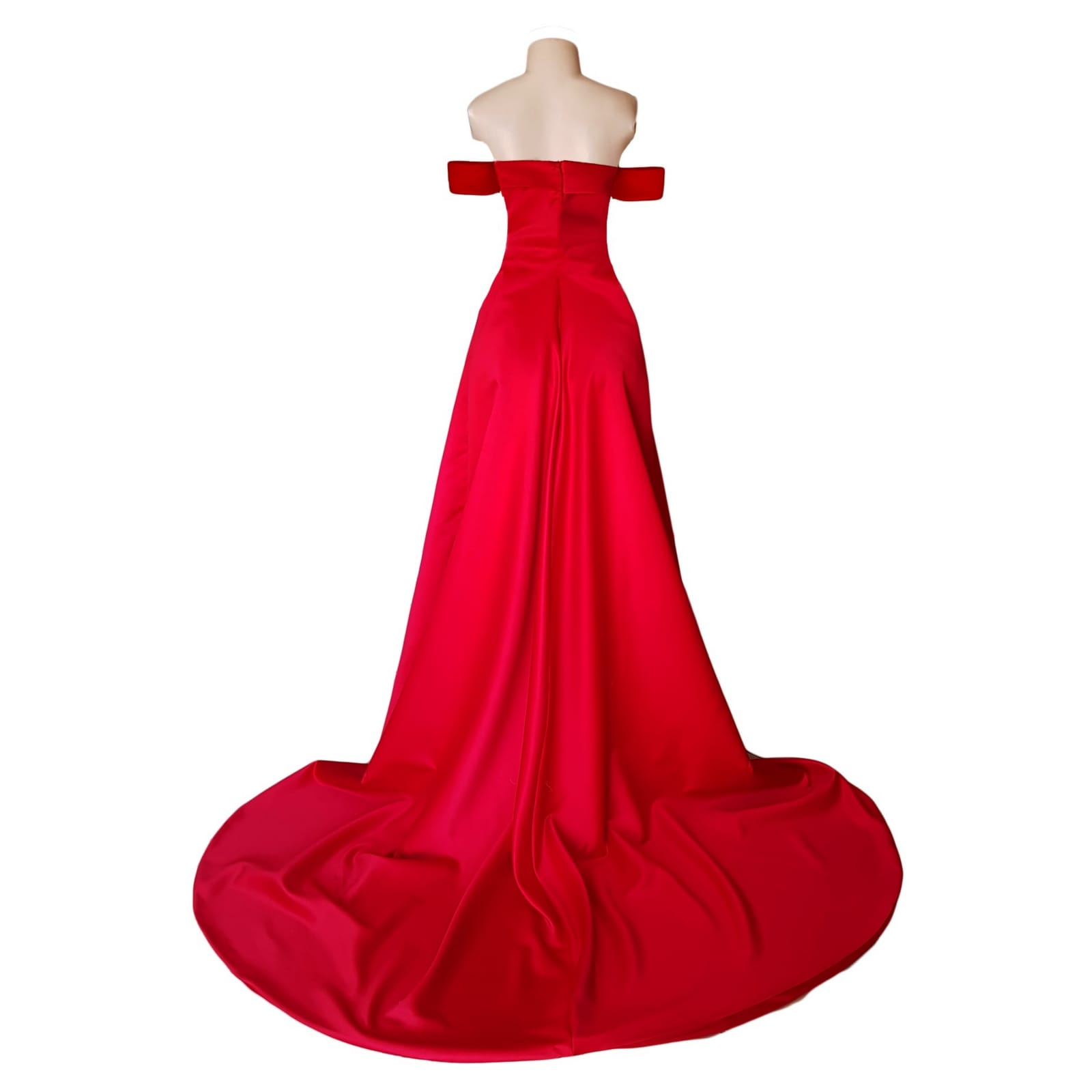 Red off shoulder flowy long prom dress 4 red off shoulder flowy long prom dress with a slit and a train