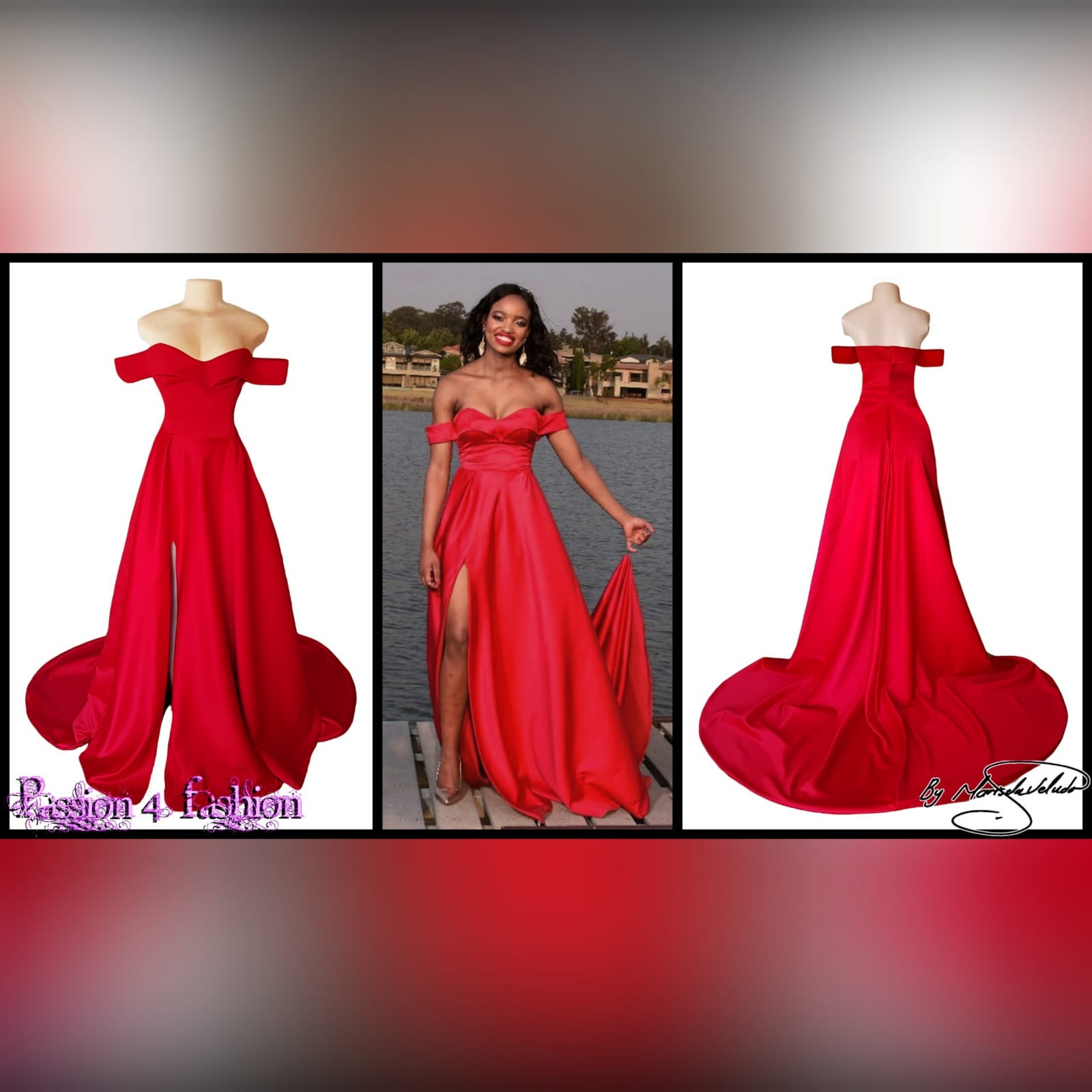 Red off shoulder flowy long prom dress 3 red off shoulder flowy long prom dress with a slit and a train
