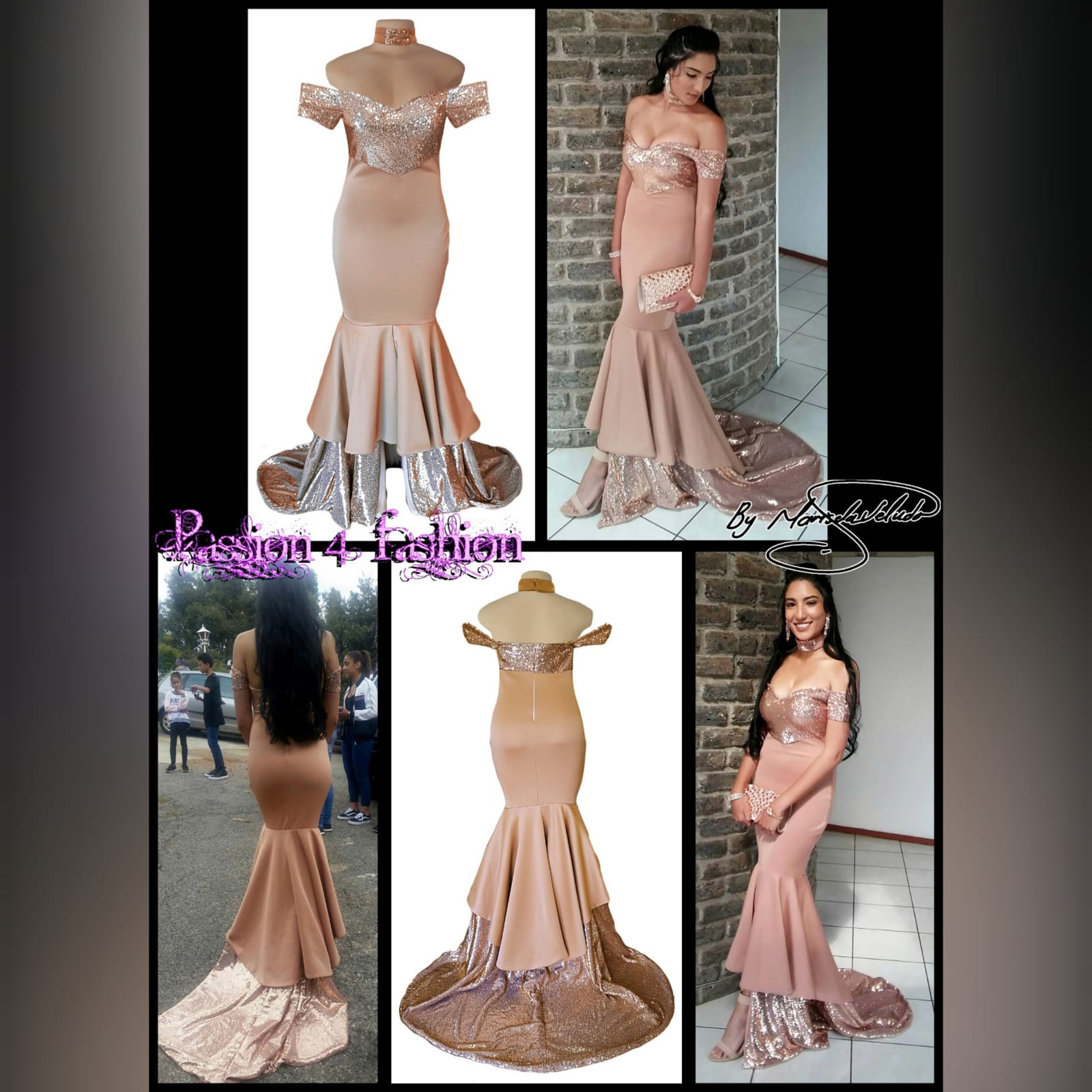Rose gold 2 tone mermaid prom dress 2 rose gold 2 tone mermaid prom dress, off-shoulder dress with a sweetheart neckline and off-shoulder short sleeves. Double layer from knee down, with sequins, creating a train with a slit int the front middle. Comes with a matching choker.