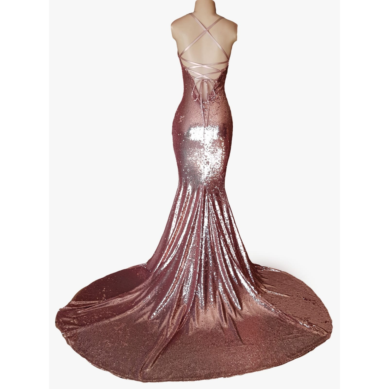 Rose gold fully sequined soft mermaid evening dress 2 rose gold fully sequined soft mermaid evening dress with a low open back, with lace-up detail.