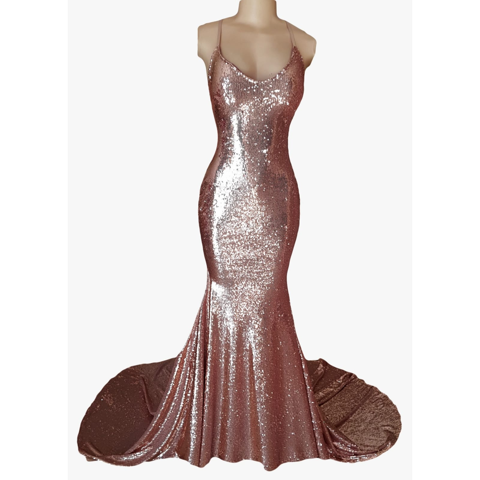 Rose gold fully sequined soft mermaid evening dress 4 rose gold fully sequined soft mermaid evening dress with a low open back, with lace-up detail.